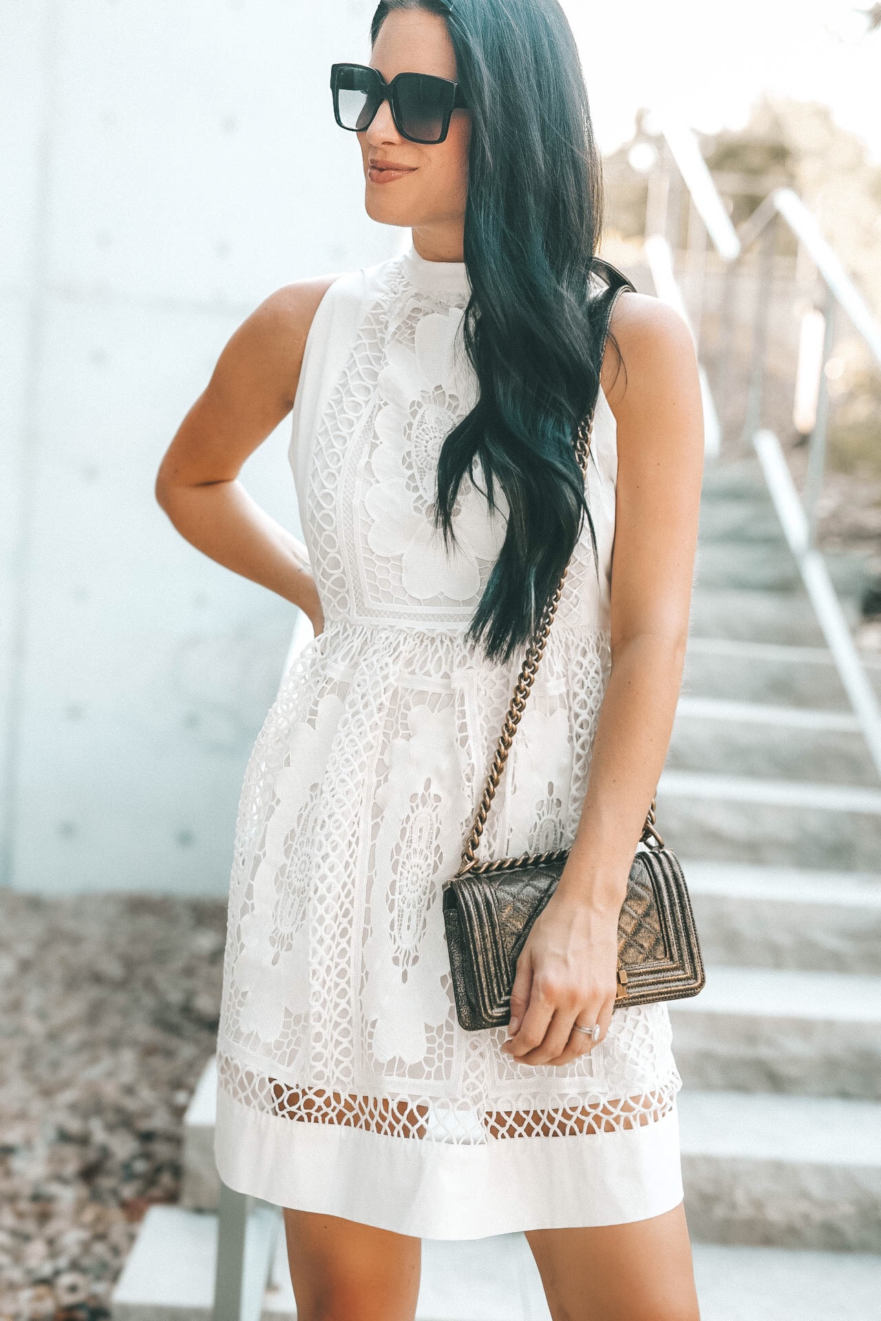 DTKAustin shares one of her favorite white lace dresses from Chicwish with tips on how to style white after Labor Day for Fall.