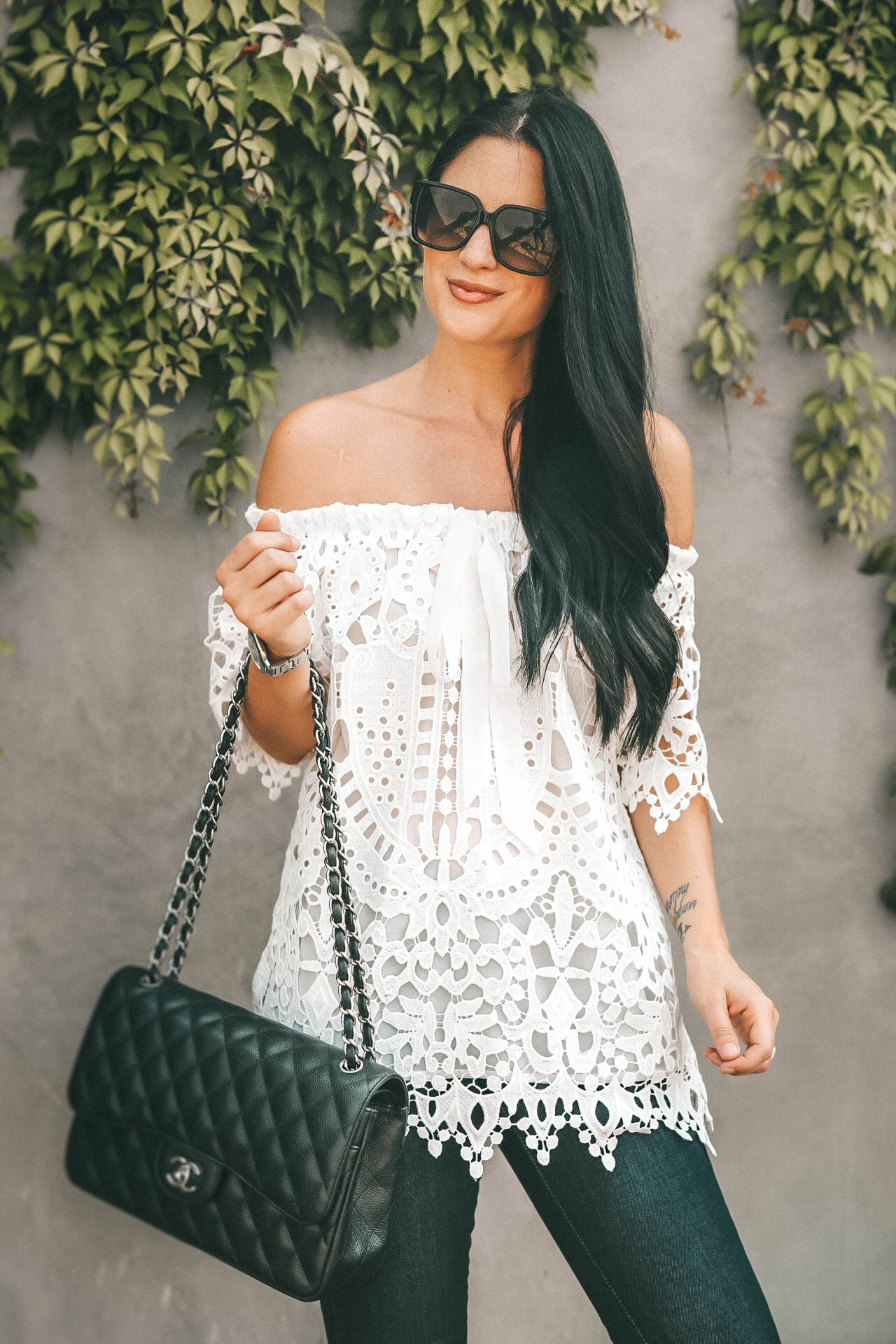 {Transitional White Lace Top for Fall}