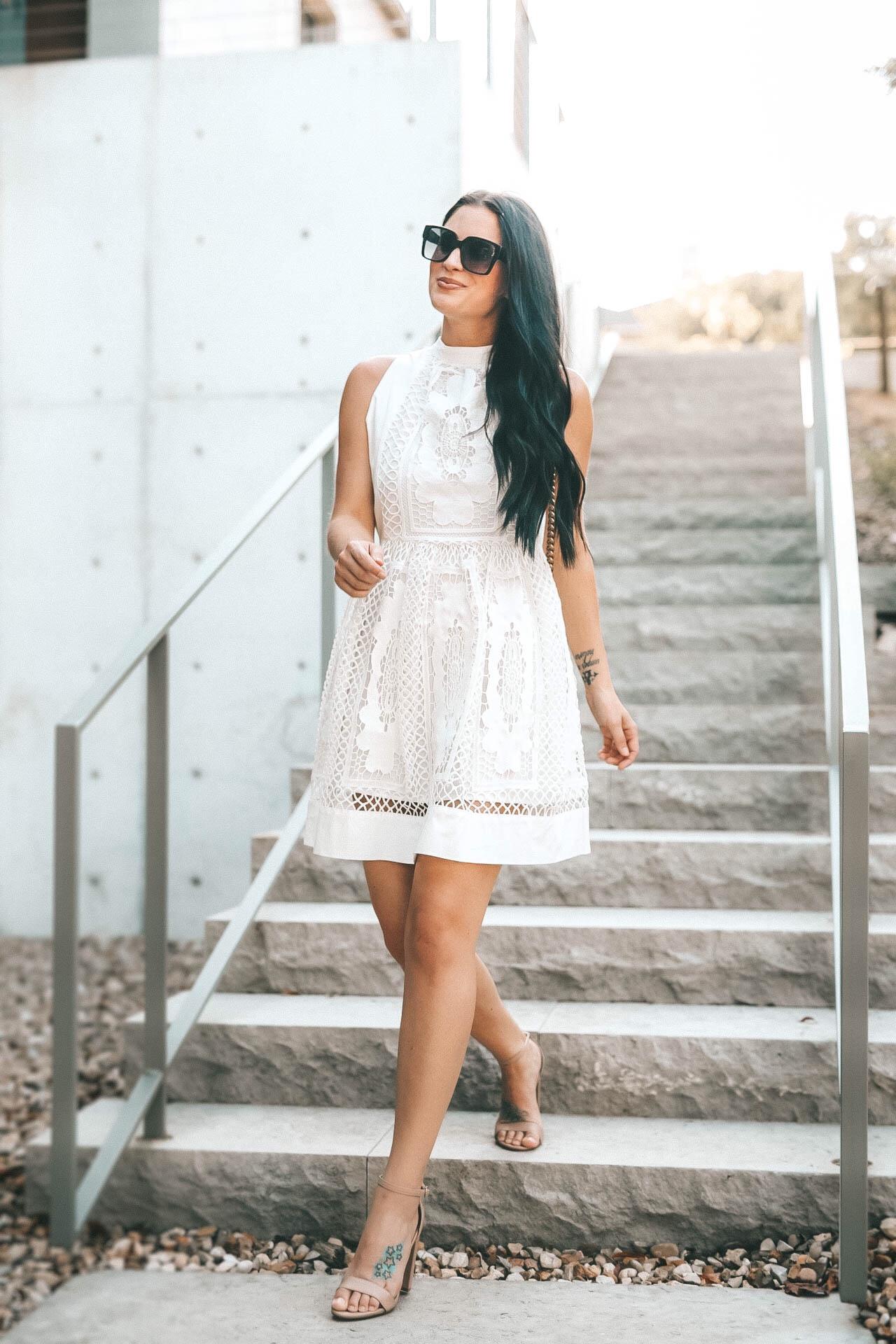 #summertofall #whitedress #lacedress #transitionaloutfit #womensoutfits #fallfashion #dtkaustin | Chicwish | {Transition Your White Lace Dress into Fall} featured by popular Austin fashion blogger Dressed to Kill