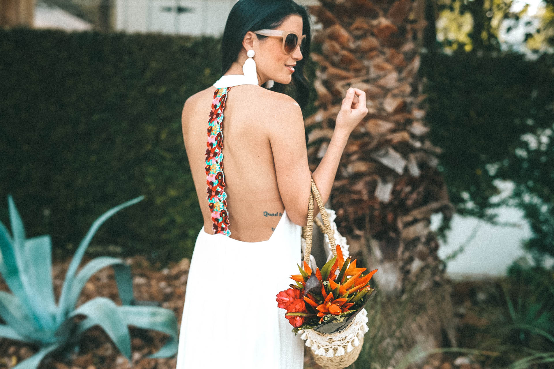 swim coverup | Straw bag is from Express and the bouquet is from The Bouqs. | white maxi dress | summer maxi dress || DTK Austin #fashion #style #maxidress #summerdress #whitemaxidress #dtkaustin - {Show Me Your Mumu Maxi Dress} featured by popular Austin fashion blogger Dressed to Kill
