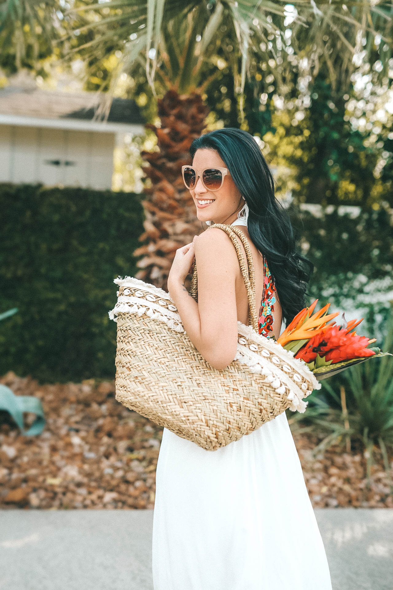 swim coverup   Straw bag is from Express and the bouquet is from The Bouqs.   white maxi dress   summer maxi dress    DTK Austin #fashion #style #maxidress #summerdress #whitemaxidress #dtkaustin - {Show Me Your Mumu Maxi Dress} featured by popular Austin fashion blogger Dressed to Kill