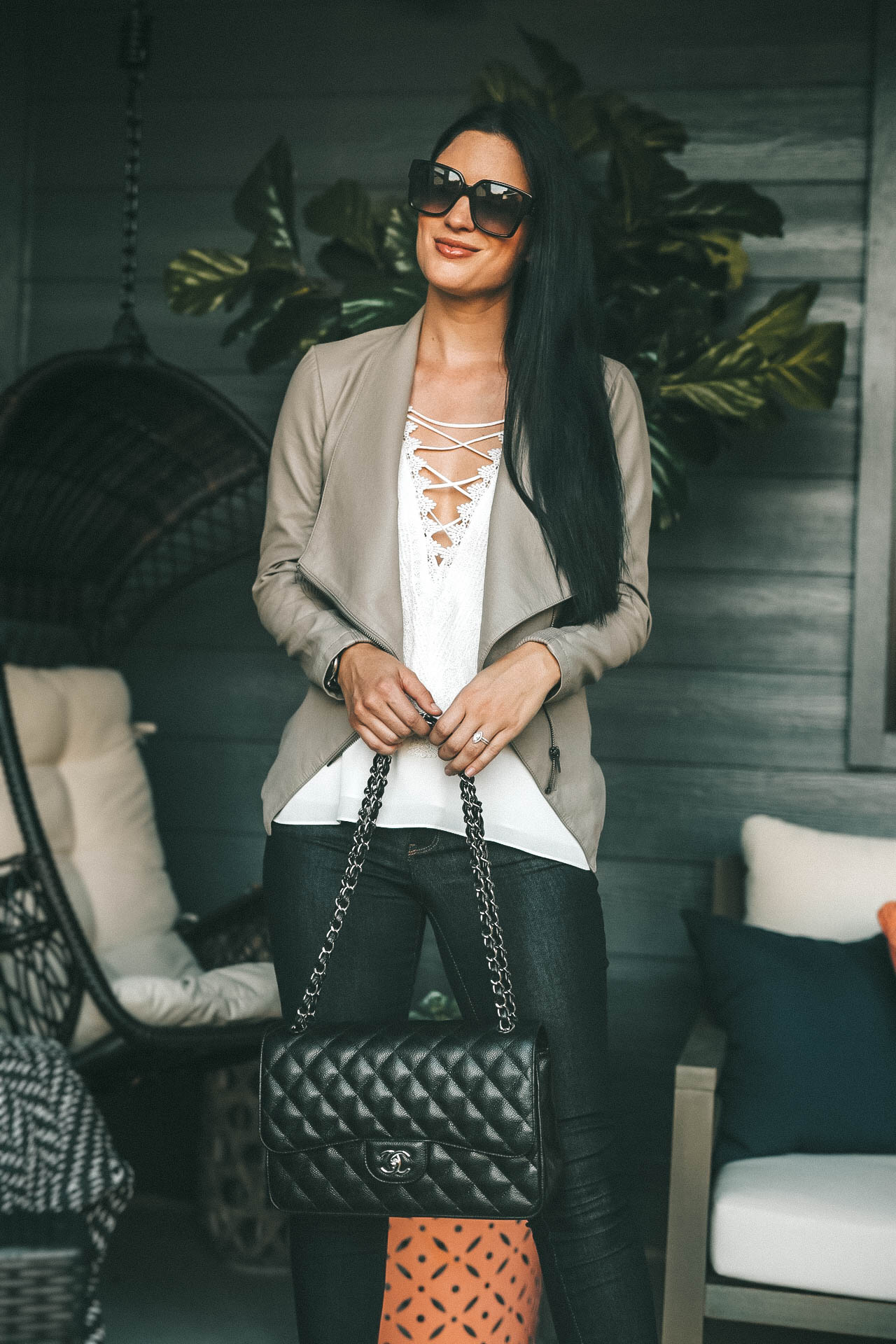 DTKAustin shares her favorite lace-front tank top from Nordstrom. Perfect transitional outfit into Fall on a budget. Chanel Black Caviar Jumbo Bag with Christian Louboutin Leopard Heels.