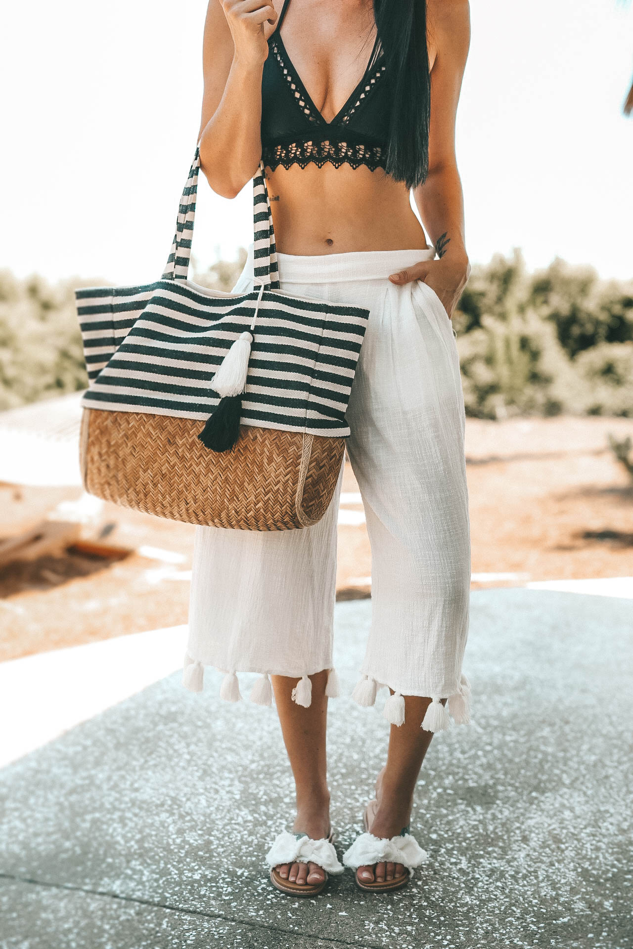 how to look cute yet comfortable for a beach vacation. | Resort Wear for Fall | What to wear to the beach | Black lace bikini | Target Bikini || Dressed to Kill #fashion #style #womensoutfit #womensfashion #bikini #resortwear #summerstyle #beachoutfit #fallfashion #dtkaustin | Beach Fashion: How to Look Put Together featured by popular Austin fashion blogger Dressed to Kill