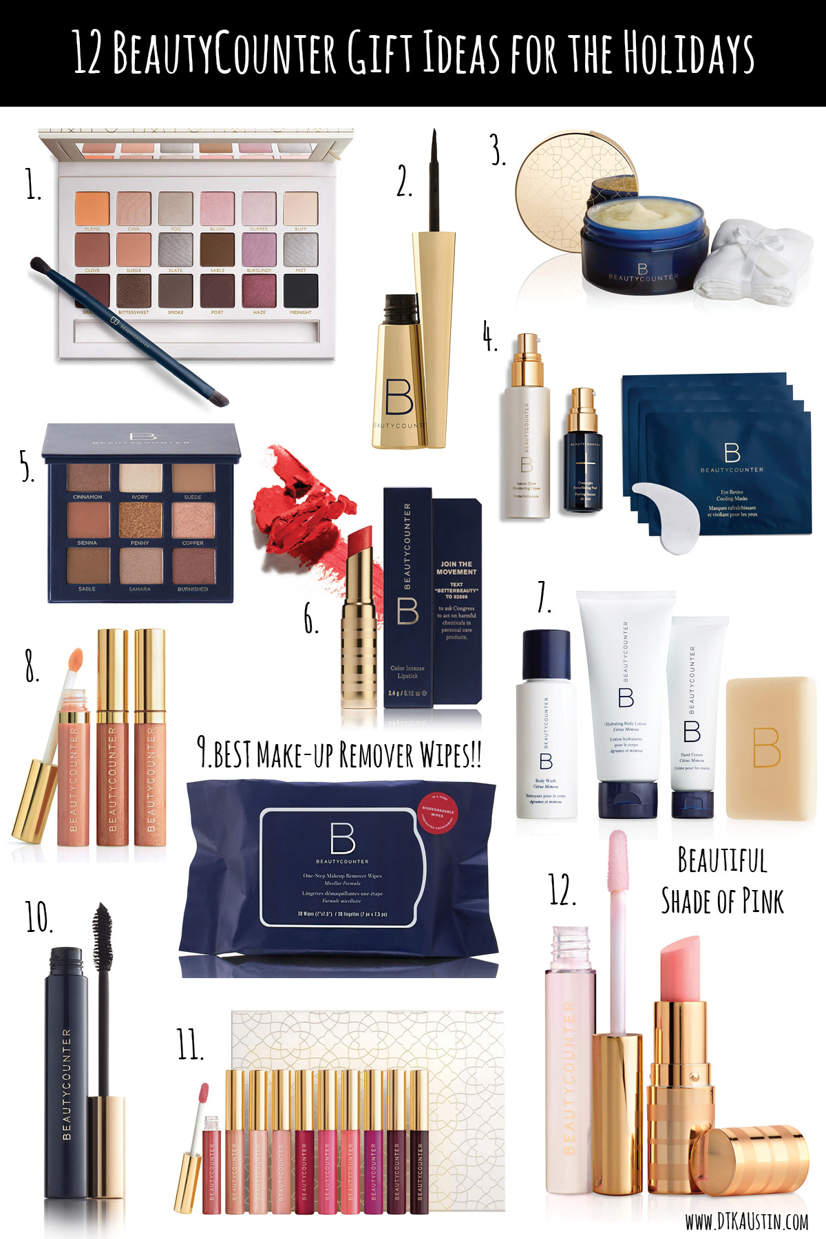DTKAustin is sharing the best 12 BeautyCounter make-up & beauty Gift Ideas for the Holidays. | Gift Giving | Gift Guide | Clean Beauty | BeautyCounter | Safe Beauty | Gift Sets| Makeup Sets || #safebeauty #cleanbeauty #beautycounter #giftguide || Dressed to Kill