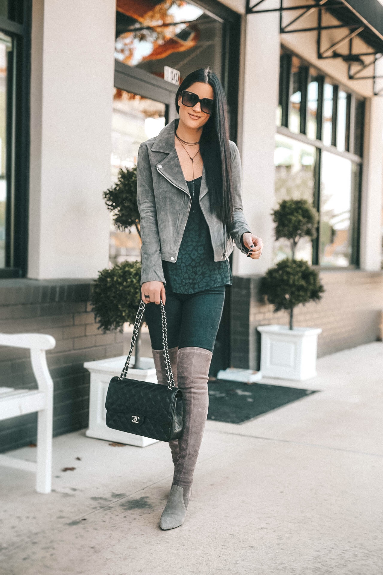 DTKAustin is sharing affordable designer jewelry holiday gift ideas from Armenta. Handbag is a Black caviar Chanel Jumbo, BlankNYC Moto Jacket, Suede OTK Boots from Goodnight Macaroon || Dressed to Kill #armenta #designerjewelry #suedeboots #motojacket #dtkaustin