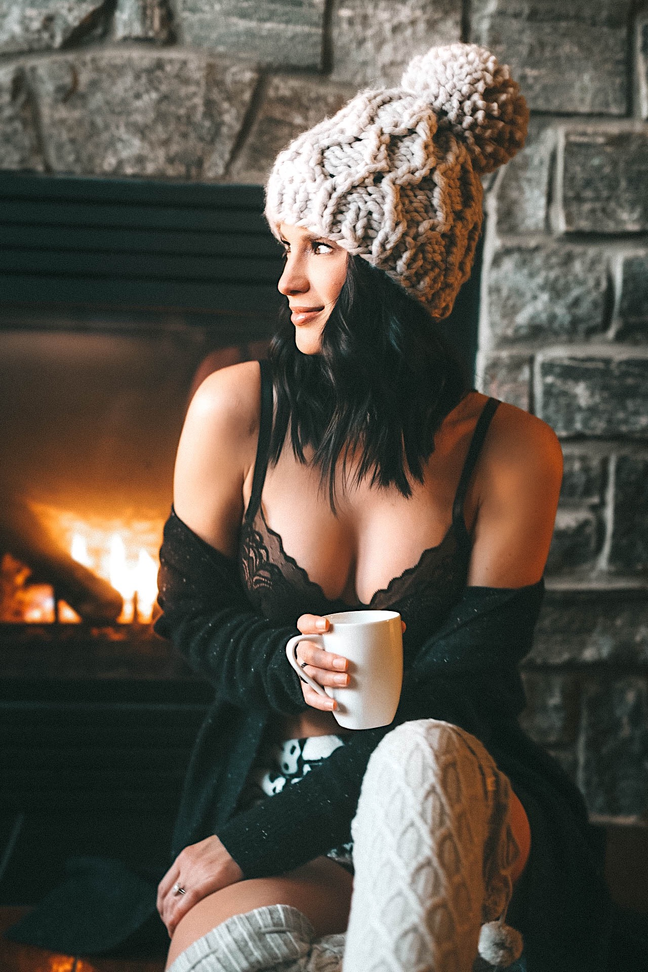 DTKAustin is sharing the most comfortable Lace bralette B.Temp'd bralette from the Macy's Semi-Annual Lingerie Sale. Bralette is from B.Temp'd, Cashmere cardigan is from Autumn cashmere, Storm Trooper shorts are from Forever21, Knee high pom pom socks are from UGG and Zappos. Enjoying the gorgeous snowy view in Muskoka Ontario at the JW Marriott Lake Rosseau. || Comfortable lingerie | Lace Bralette | Black lace bra | Lingerie sale | comfortable pajamas | Best winter getaway || #lingerie #macyssale #macyslingerie #btempd #loungewear #womenslingerie | B.Temp'd bralette with support available at Macy's featured by top Austin fashion blog, Dressed to Kill