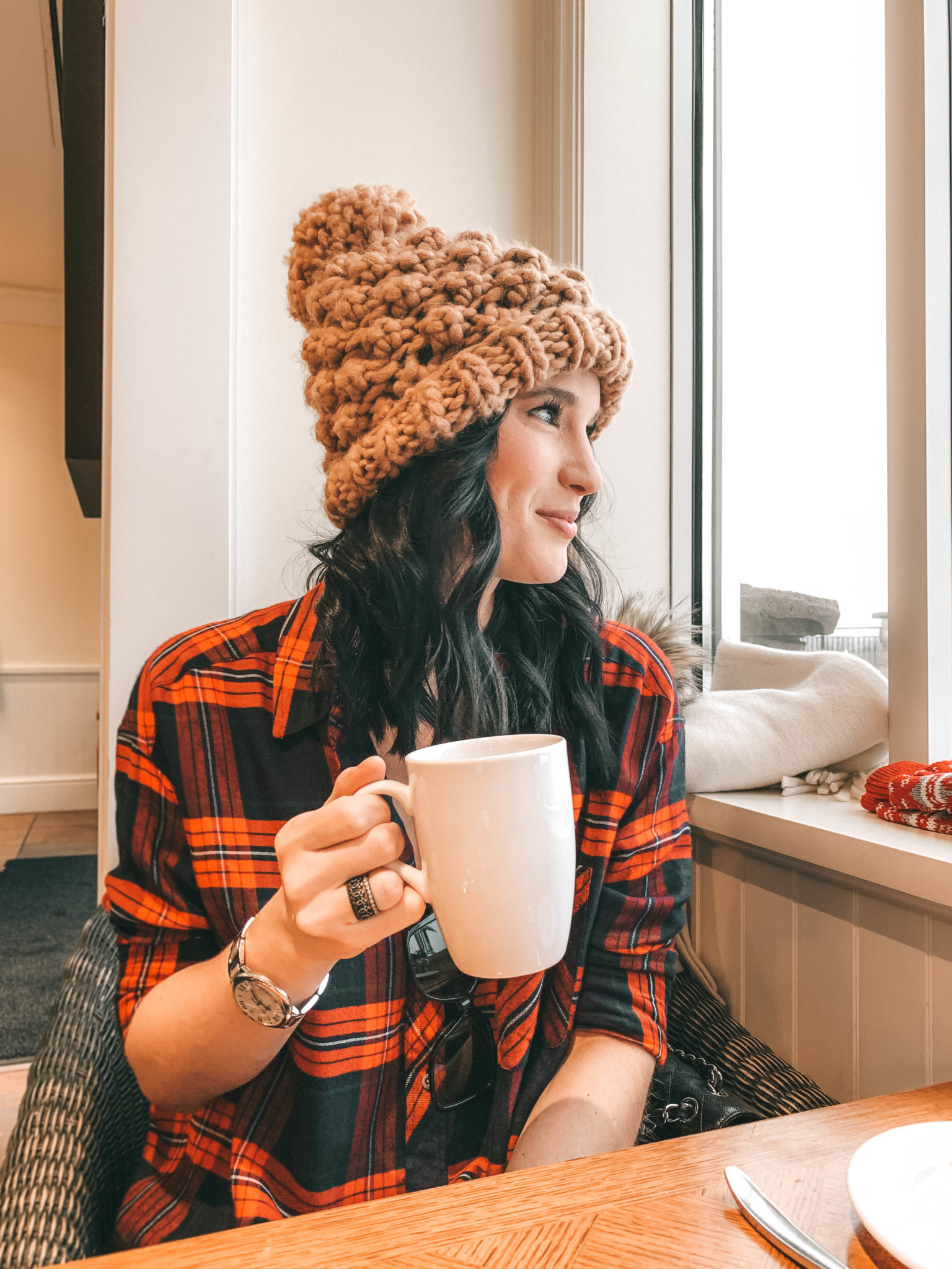 The Rosseau Muskoka featured by top US travel blog Dressed to Kill; Woman drinking coffee in Canada
