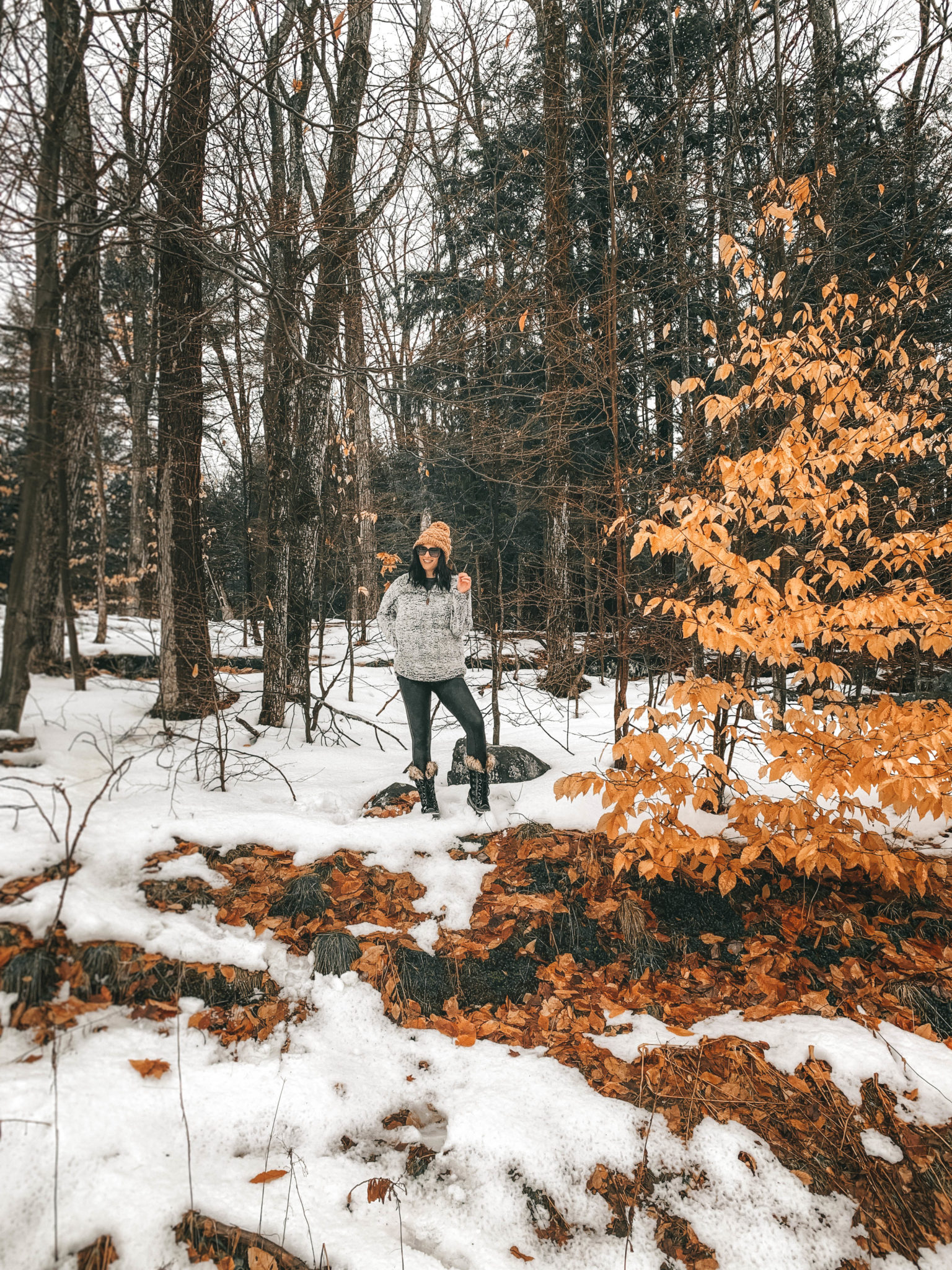 The Rosseau Muskoka featured by top US travel blog Dressed to Kill; Girl in the woods in Canada