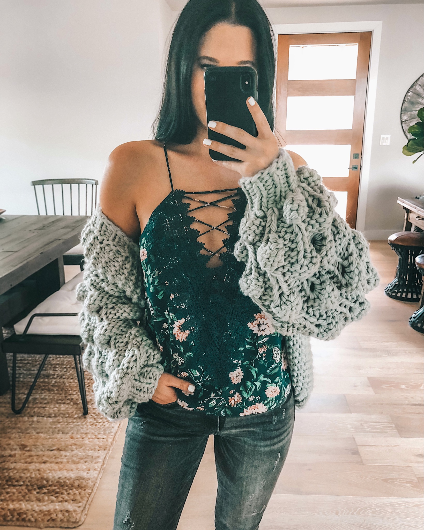 WayF Posie Cami featured by top US fashion blog Dressed to Kill; Image of a woman wearing WayF cami, Express jeans and Chicwish cardigan.