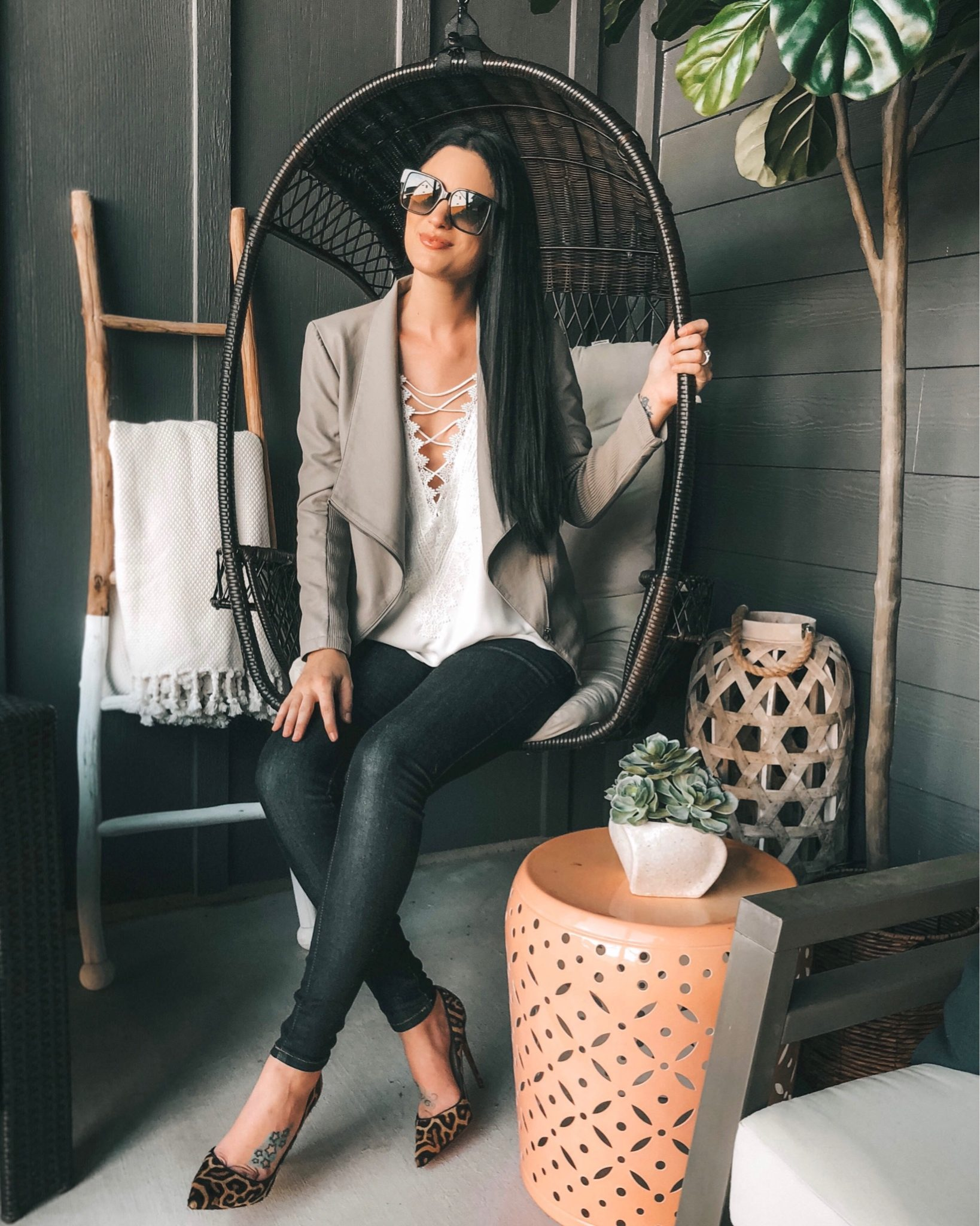 WayF Posie Cami featured by top US fashion blog Dressed to Kill; Image of a woman wearing WayF cami, BB Dakota jacket, Free People cardigan, Mott & Bow jeans and Christian Louboutin heels.