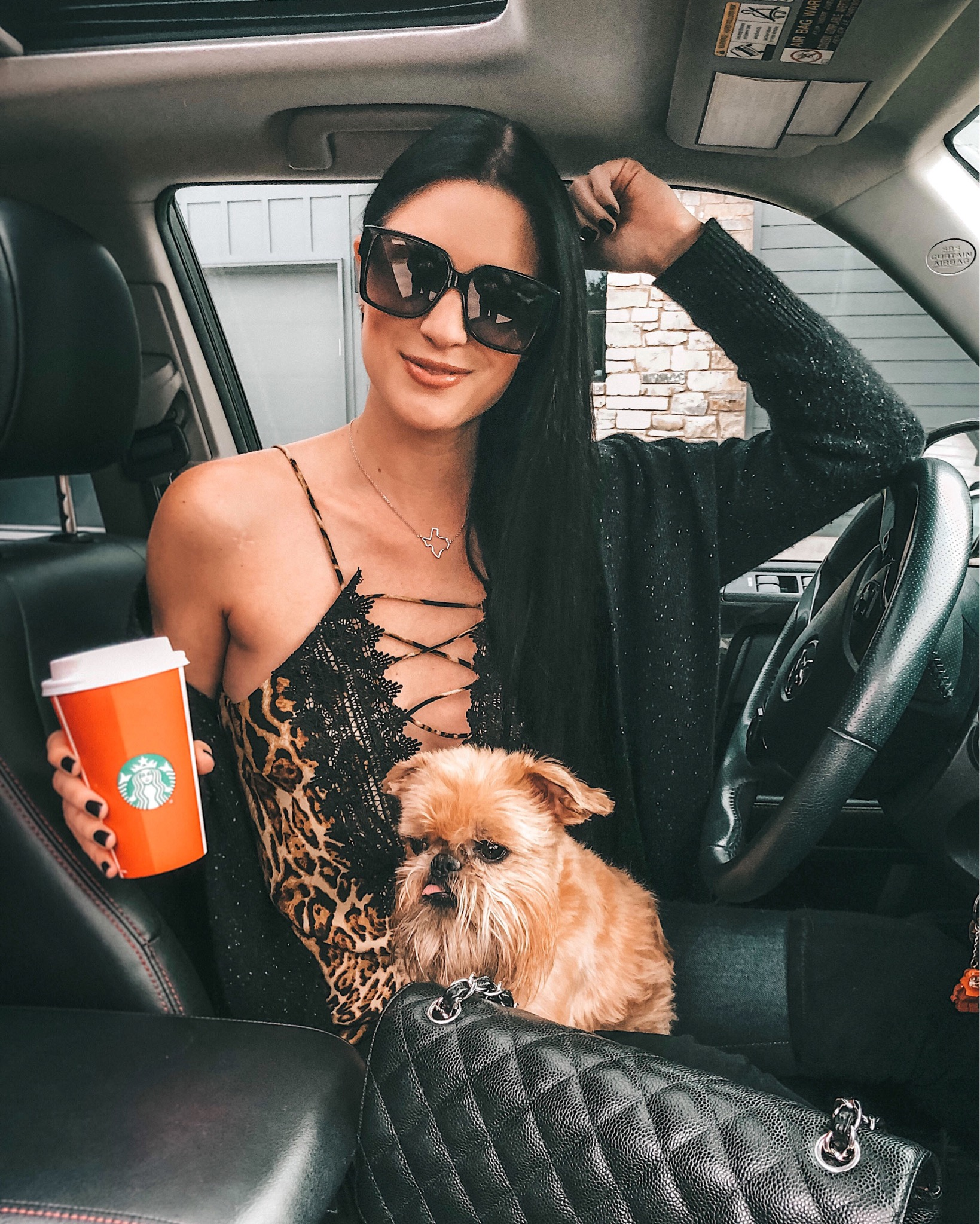 WayF Posie Cami featured by top US fashion blog Dressed to Kill; Image of a woman wearing Wayf cami, Mott & Bow jeans, Goodnight Macaroon boots, Autumn Cashmere cardigan and James Avery necklace.