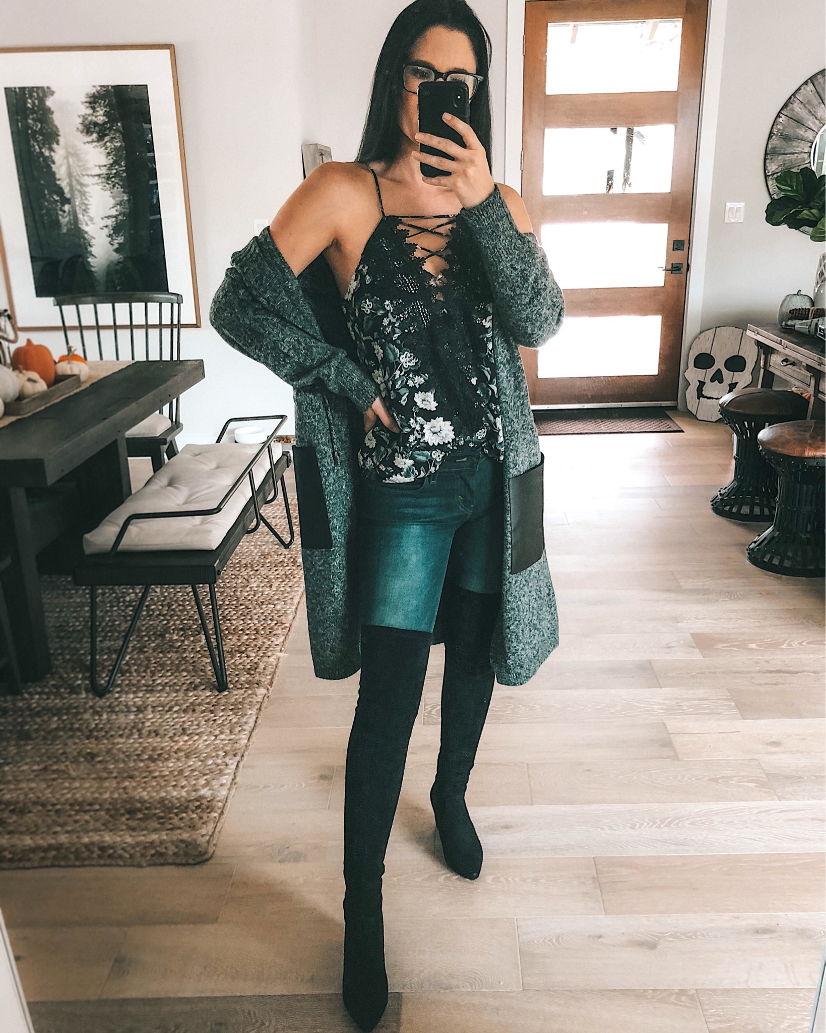 WayF Posie Cami featured by top US fashion blog Dressed to Kill; Image of a woman wearing WayF cami, Goodnight Macaroon cardigan, Mott & Bow jeans and Goodnight Macaroon boots.