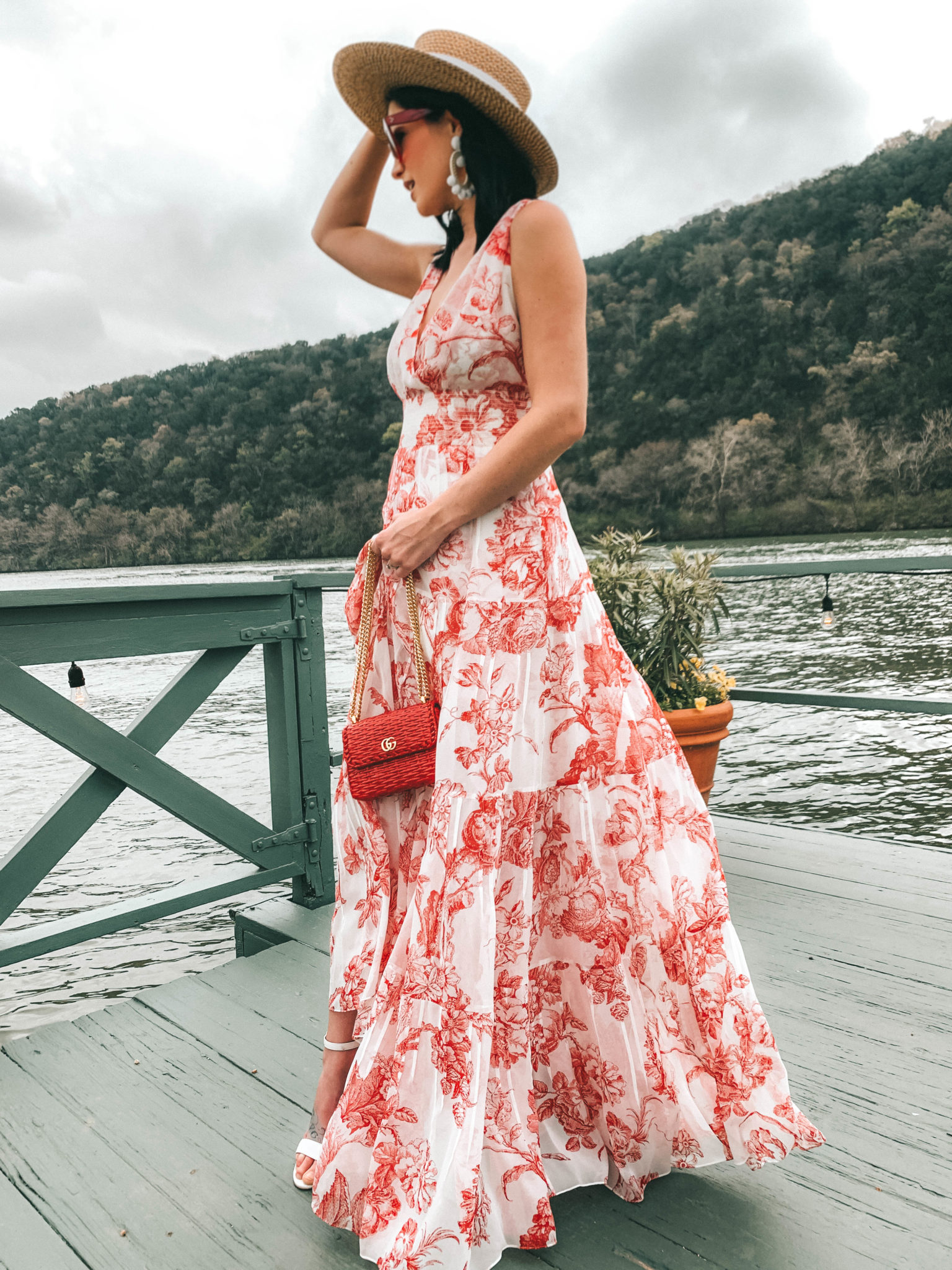 Floral Maxi Dress featured by top US fashion blog Dressed to Kill; Image of a woman wearing Oscar de la Renta dress, Gucci handbag, Christian LouboutinHat - Eric Javits shoes, Sachin & Bobi earrings and Celine sunglasses.