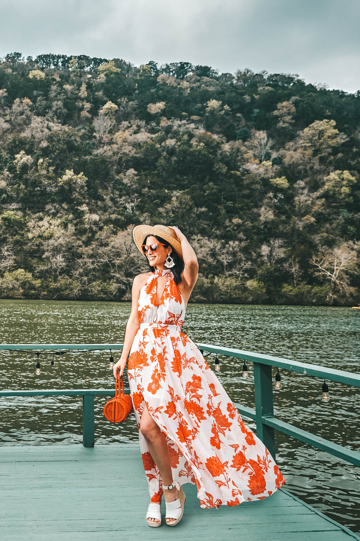 Floral Maxi Dress featured by top US fashion blog Dressed to Kill; Image of a woman wearing VICI dress, Cleobella handbag, Treasure & Bond shoes, Vitamin A hat, Baublebar earrings and Amazon sunglasses.