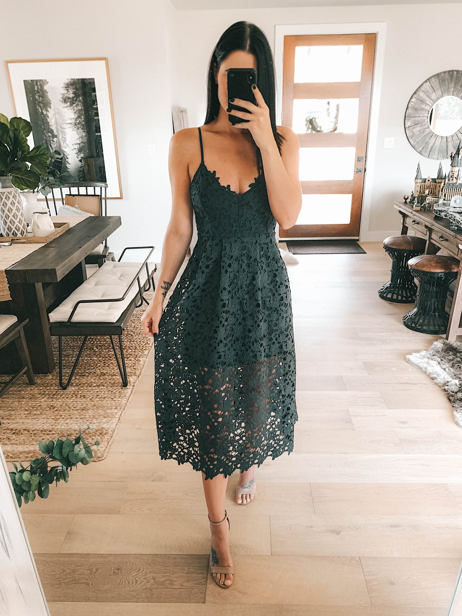 Sale Alert - Two Must Have Versatile Dresses for Summer by popular Austin fashion blog, Dressed to Kill: image of a woman wearing a black ASTR Lace Midi Dress