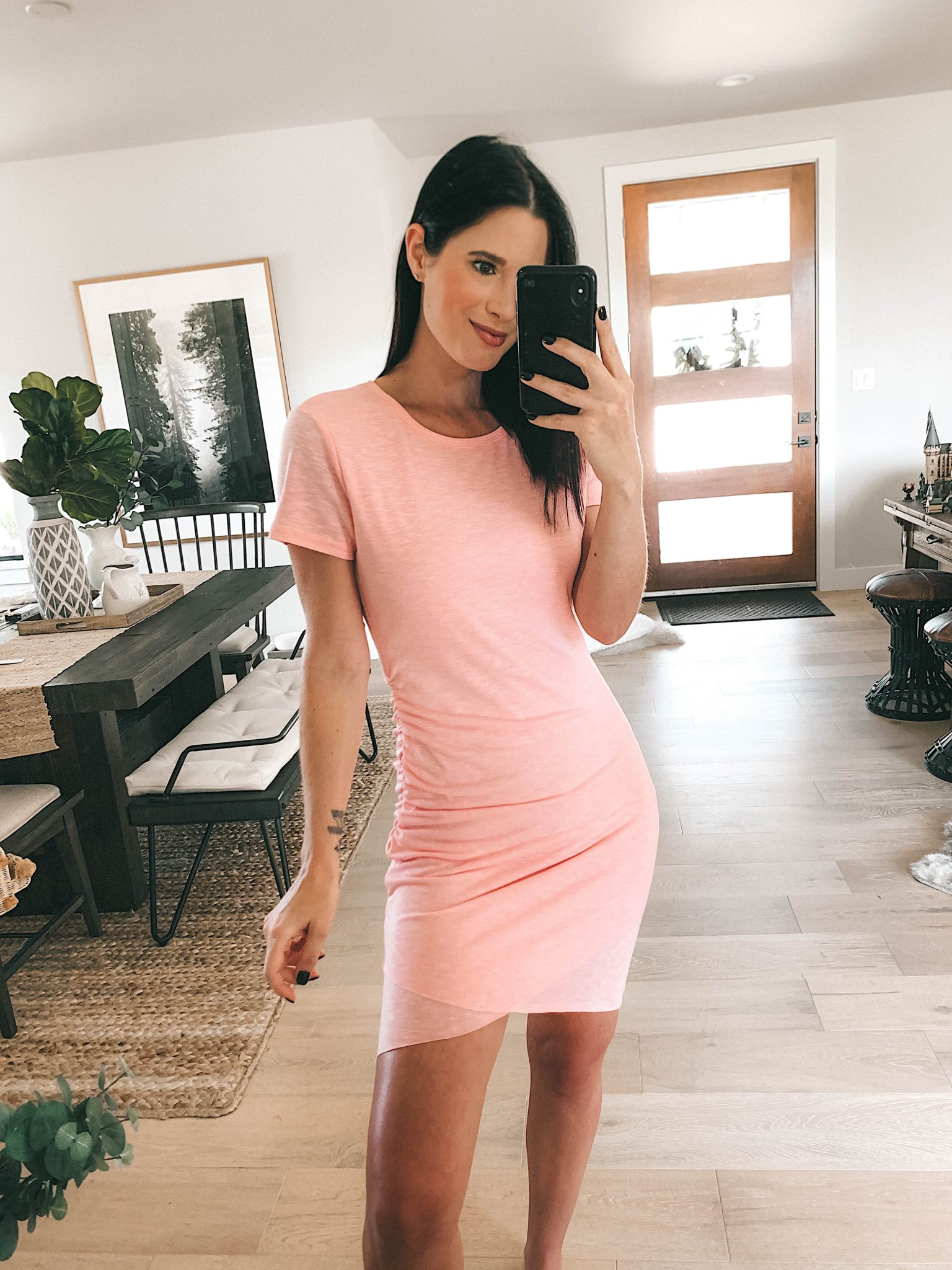 Goodnight Macaroon Summer Dresses Try-On by popular Austin fashion blog, Dressed to Kill: image of a woman standing in her house and wearing a 'Valerie' Short sleeve T-Shirt Mini Dress.