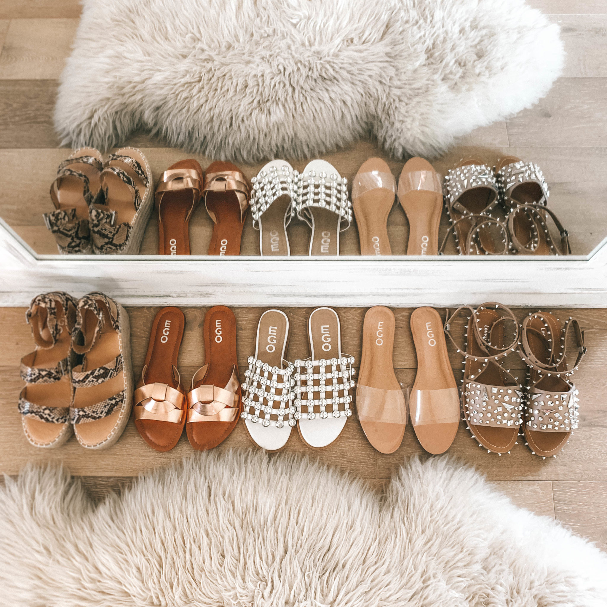 5 Must Have Affordable EGO Sandals for Summer by popular Austin fashion blog, Dressed to Kill: image of 5 pairs of EGO sandals lined up next to each other.