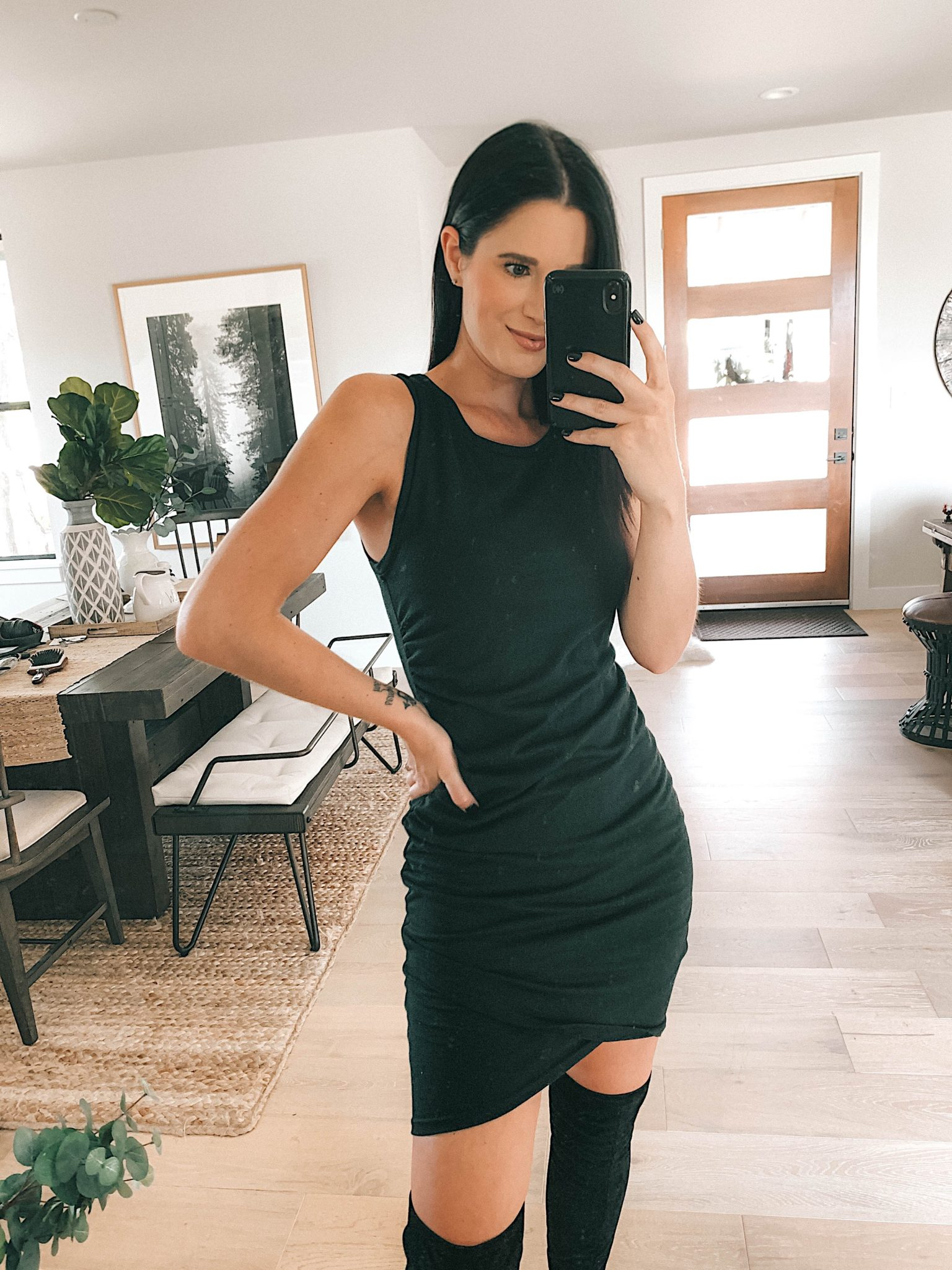 Sale Alert - Two Must Have Versatile Dresses for Summer by popular Austin fashion blog, Dressed to Kill: image of a woman wearing a black Leith Ruched Body-Con Tank Dress