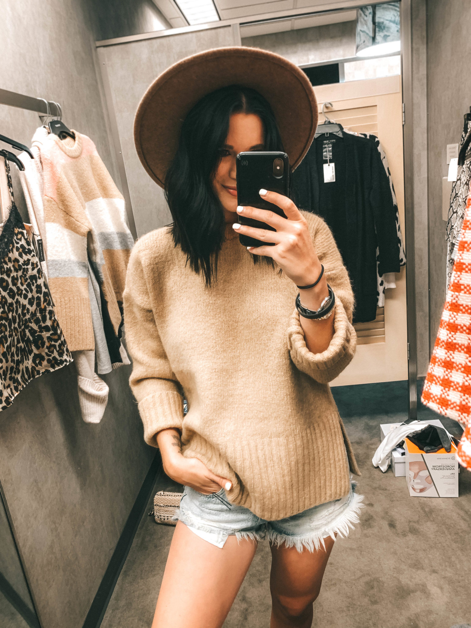 Top 11 Must Have Pieces from the Nordstrom Anniversary Sale by popular Austin fashion blog, Dressed to Kill: image of a woman standing inside a Nordstrom dressing room, taking a selfie in the mirror and wearing a tan Funnel Neck Cashmere Sweater and Trim Wool Panama Hat, Main, color, 235 Snakeskin Trim Wool Panama Hat by TREASURE & BOND