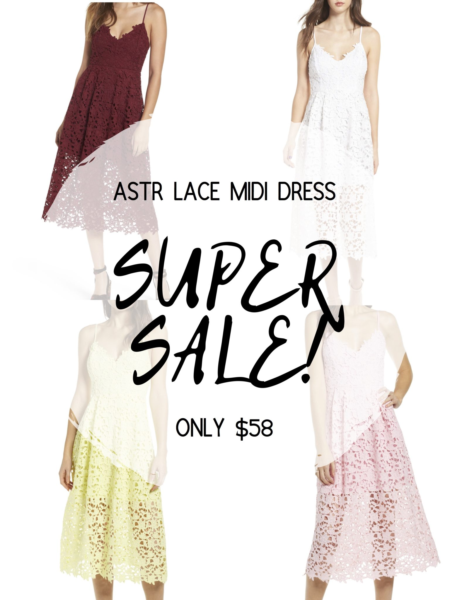 Sale Alert - Two Must Have Versatile Dresses for Summer by popular Austin fashion blog, Dressed to Kill: catalogue image of 4 ASTR lace midi dresses.