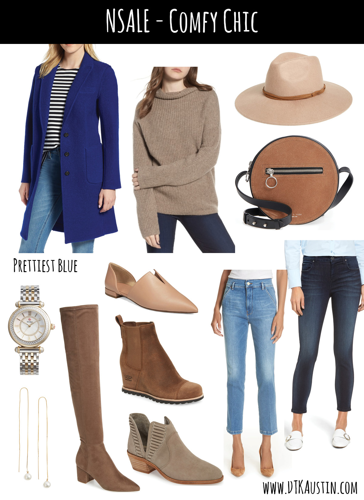 Tips on How to Shop the 2019 Nordstrom Anniversary SALE by popular Austin fashion blog, Dressed to Kill: collage image of Nordstrom anniversary sale JCREW Blue Coat, Trouve Sweater, Treasure & Bond Felt Hat, Rag & Bone Crossbody Michele Watch, Vince Leather Flat,Frame Straight Jeans, KUT Skinny Jeans Pearl Earrings, Steve Madden OTK Boots, UGG Wedge Booties, and Vince Camuto Booties.