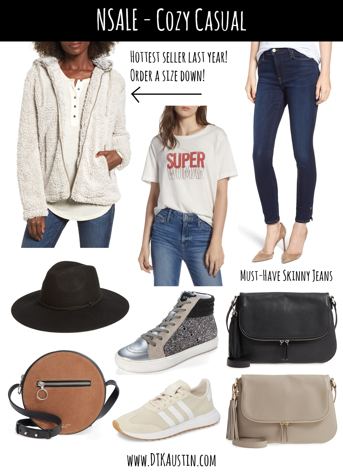Tips on How to Shop the 2019 Nordstrom Anniversary SALE by popular Austin fashion blog, Dressed to Kill: collage image of Nordstrom anniversary sale Thready & Supply Wubby Fleece, Super Woman Tee, FRAME Skinny Jeans Treasure & Bond Felt Hat, Steve Madden Glitter Sneaker, Leather Crossbody, Rag & Bone Crossbody and Adidas Sneakers