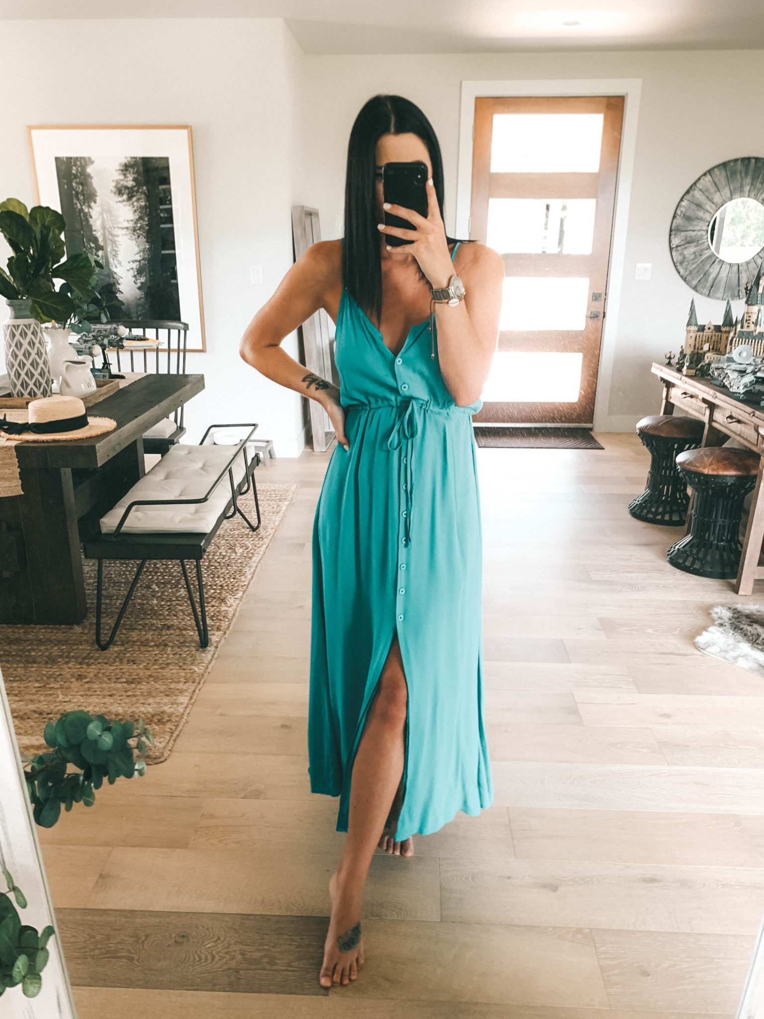 Amaryllis Apparel Abroad Turks & Caicos Summer Try-On by popular Austin fashion blog, Dressed to Kill: image of a woman wearing a turquoise Amaryllis Apparel Telia button maxi dress