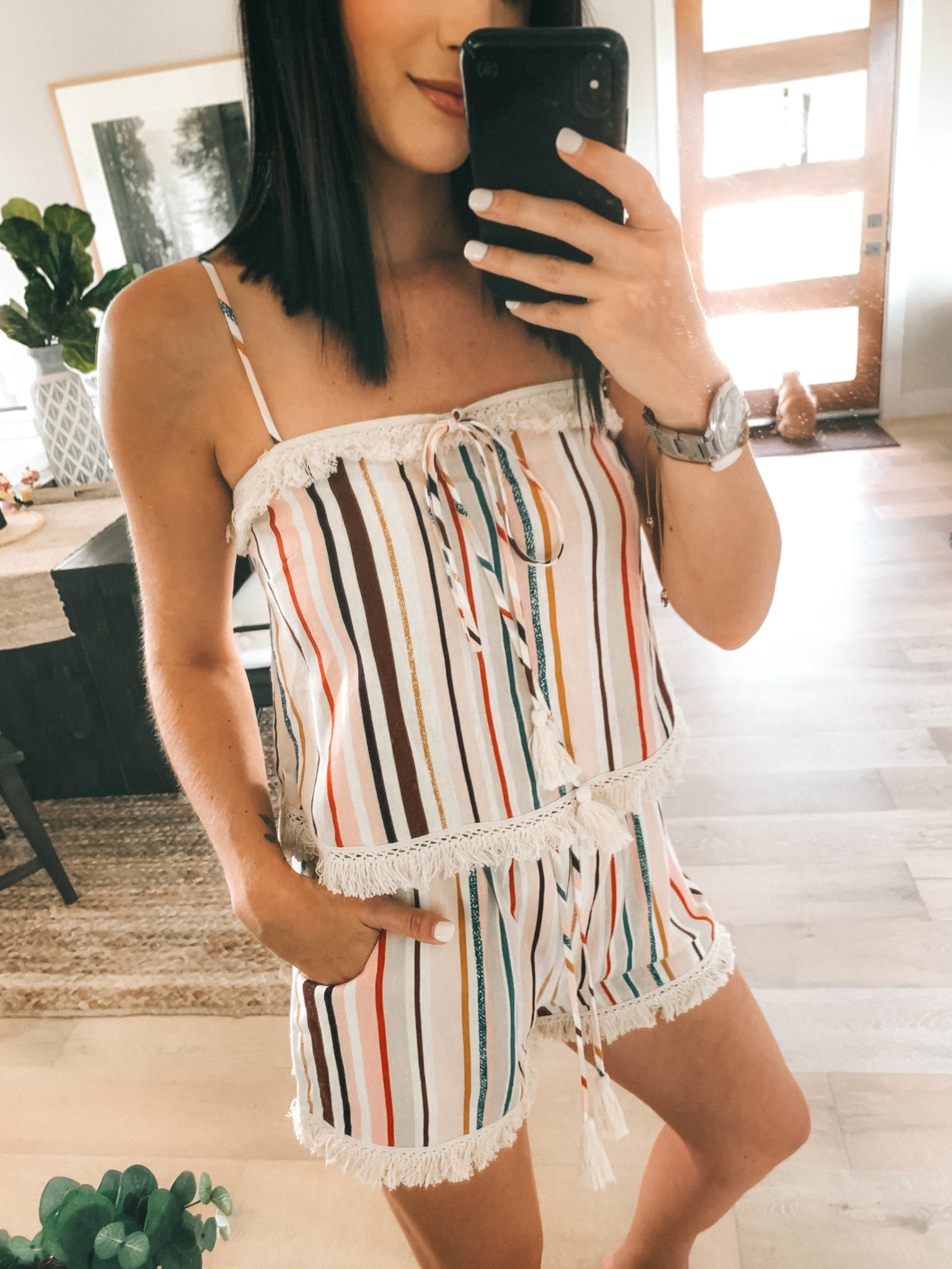 Amaryllis Apparel Abroad Turks & Caicos Summer Try-On by popular Austin fashion blog, Dressed to Kill: image of a woman wearing a multi color stripe Amaryllis Apparel Staycation Set.
