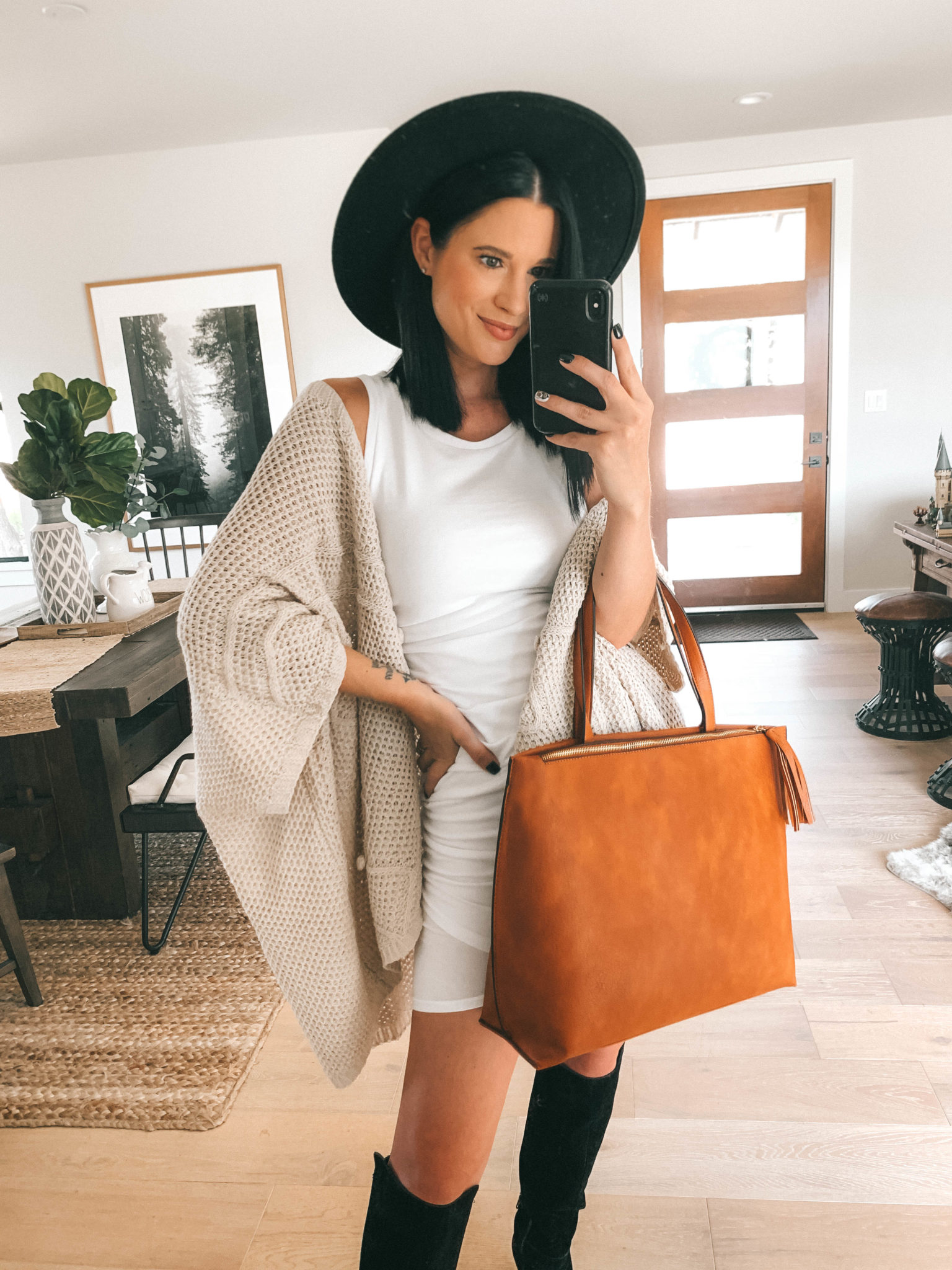 Must Have Sole Society Fall Staples by popular Austin fashion blog, Dressed to Kill: image of a woman wearing a Nordstrom Leith rouched body-con dress, Sole Society Paloma wedge boot, Sole Society Knit Detail Wrap, and holding a Sole Society Wallis Tote.