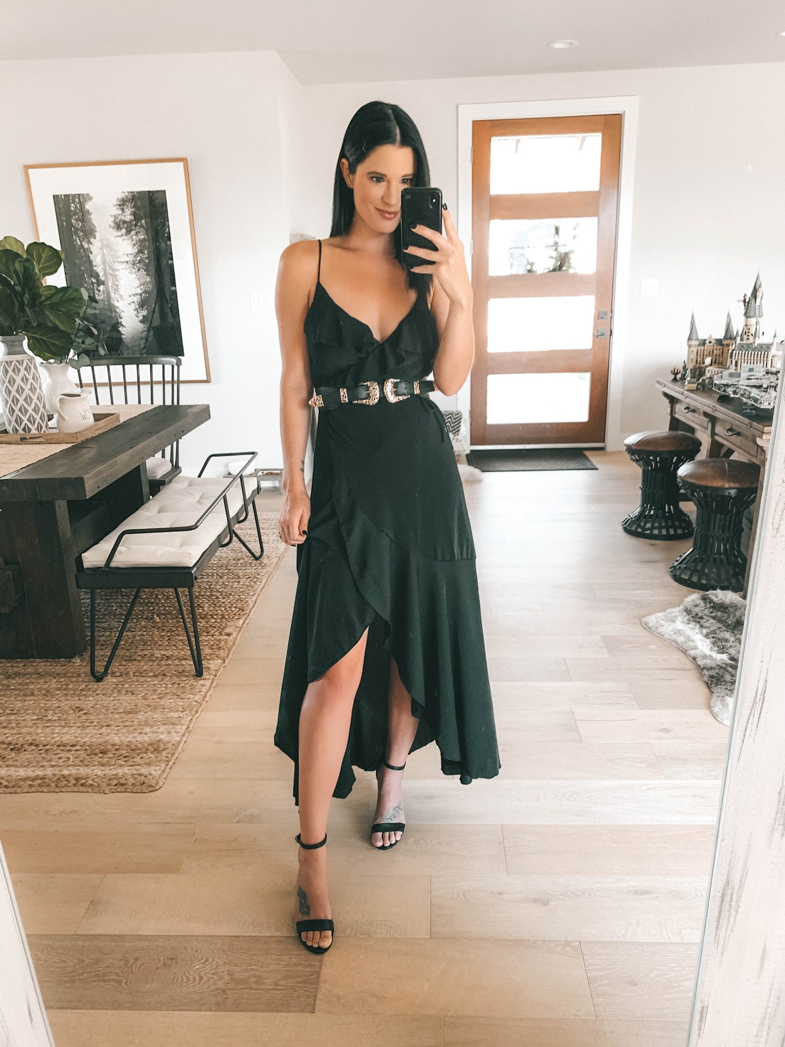 Transition Your Summer Looks Into Fall with Princess Polly Clothing by popular Austin fashion blog, Dressed to Kill: image of a woman wearing a Princess Polly Ready or Not Belt and black high-low dress