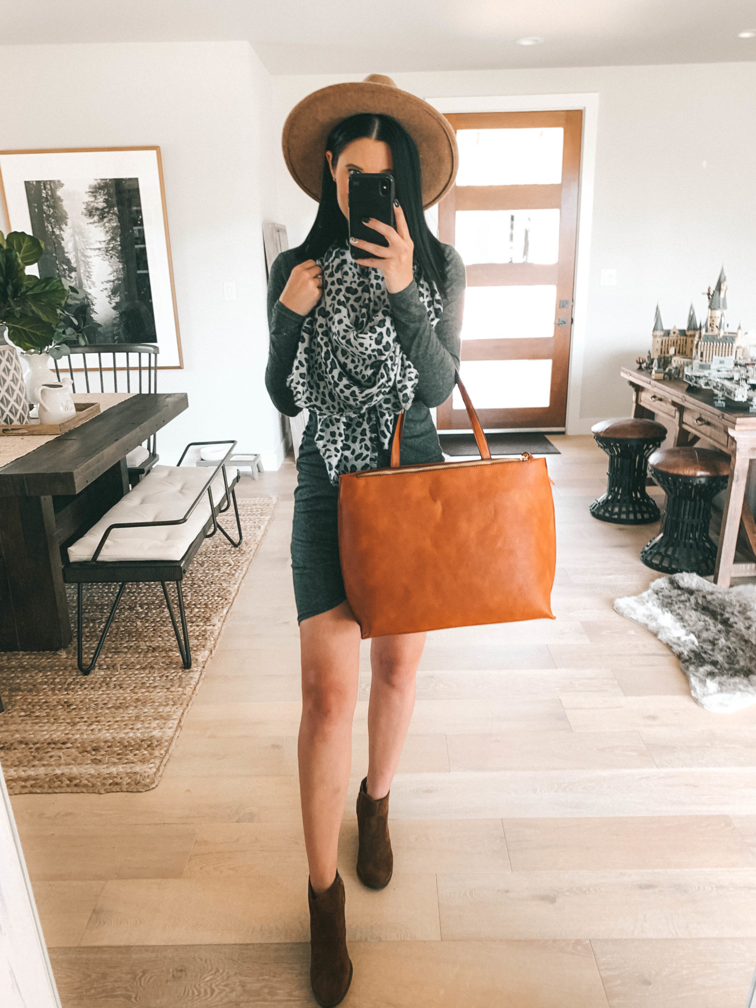 Must Have Sole Society Fall Staples by popular Austin fashion blog, Dressed to Kill: image of a woman wearing a grey rouched body-con dress, Sole Society Patsy Wedge Booties, leopard print oversized scarf, and holding a Wallis Tote.