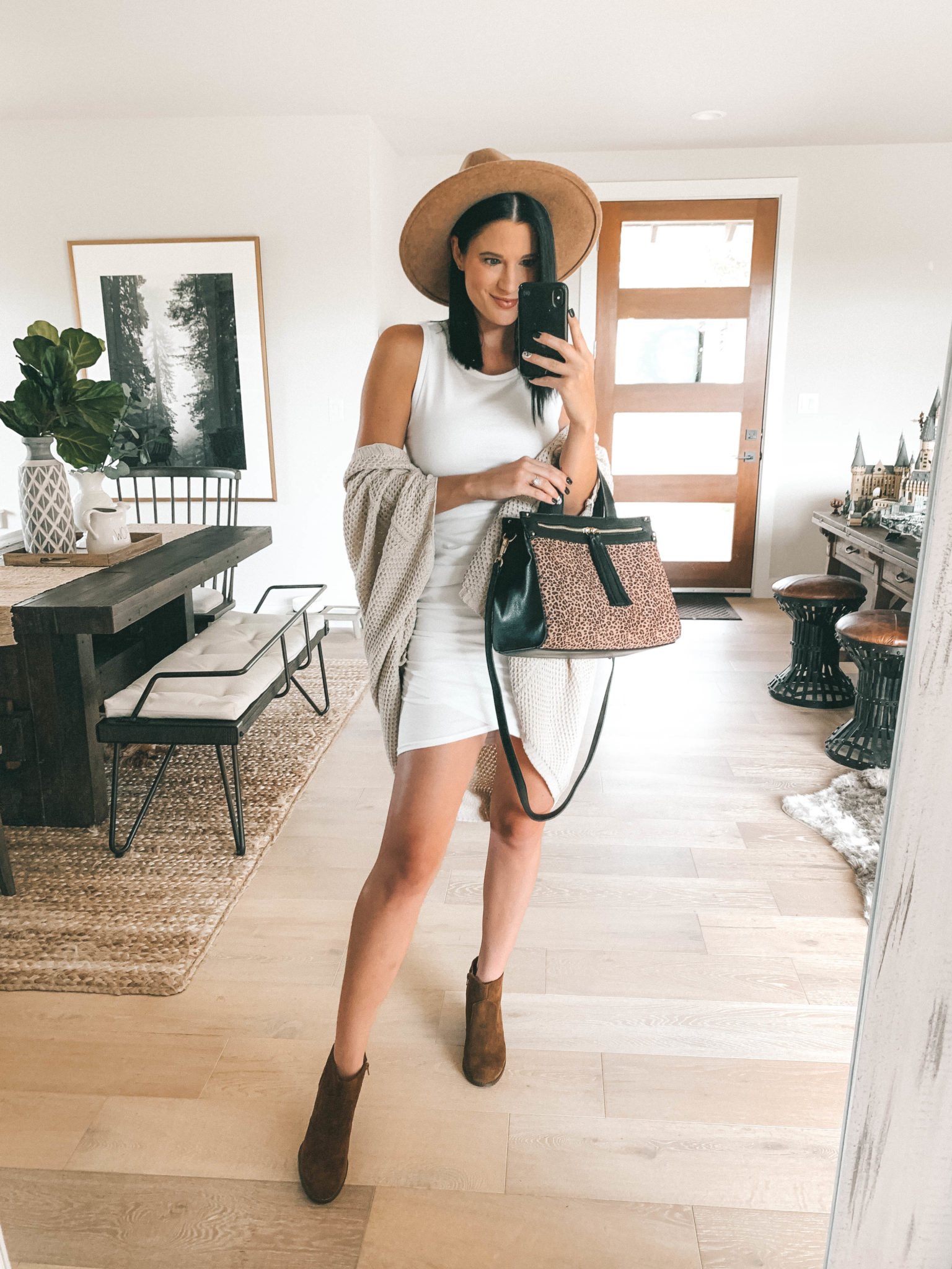 Must Have Sole Society Fall Staples by popular Austin fashion blog, Dressed to Kill: image of a woman wearing a Nordstrom white Leith dress, Sole Society Knit Detail Wrap, leopard print Zypa Satchel bag, and Patsy Wedge Bootie.