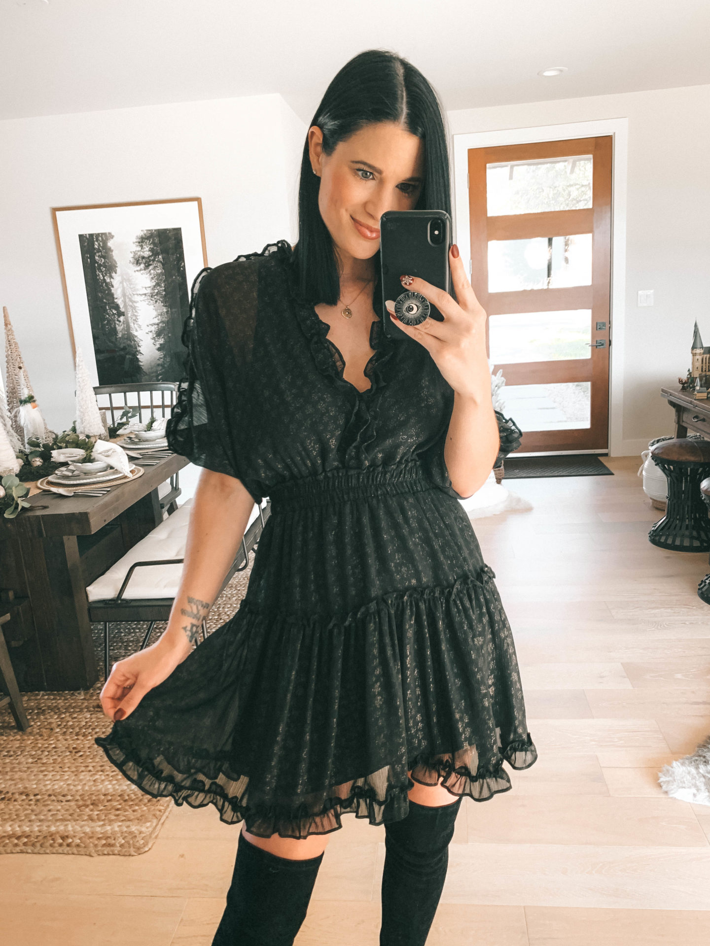 Lovestitch Holiday Favorites Try-On Session by popular Austin fashion blog, Dressed to Kill: image of a woman wearing a Lovestitch Rania Foil Chiffon Dress.
