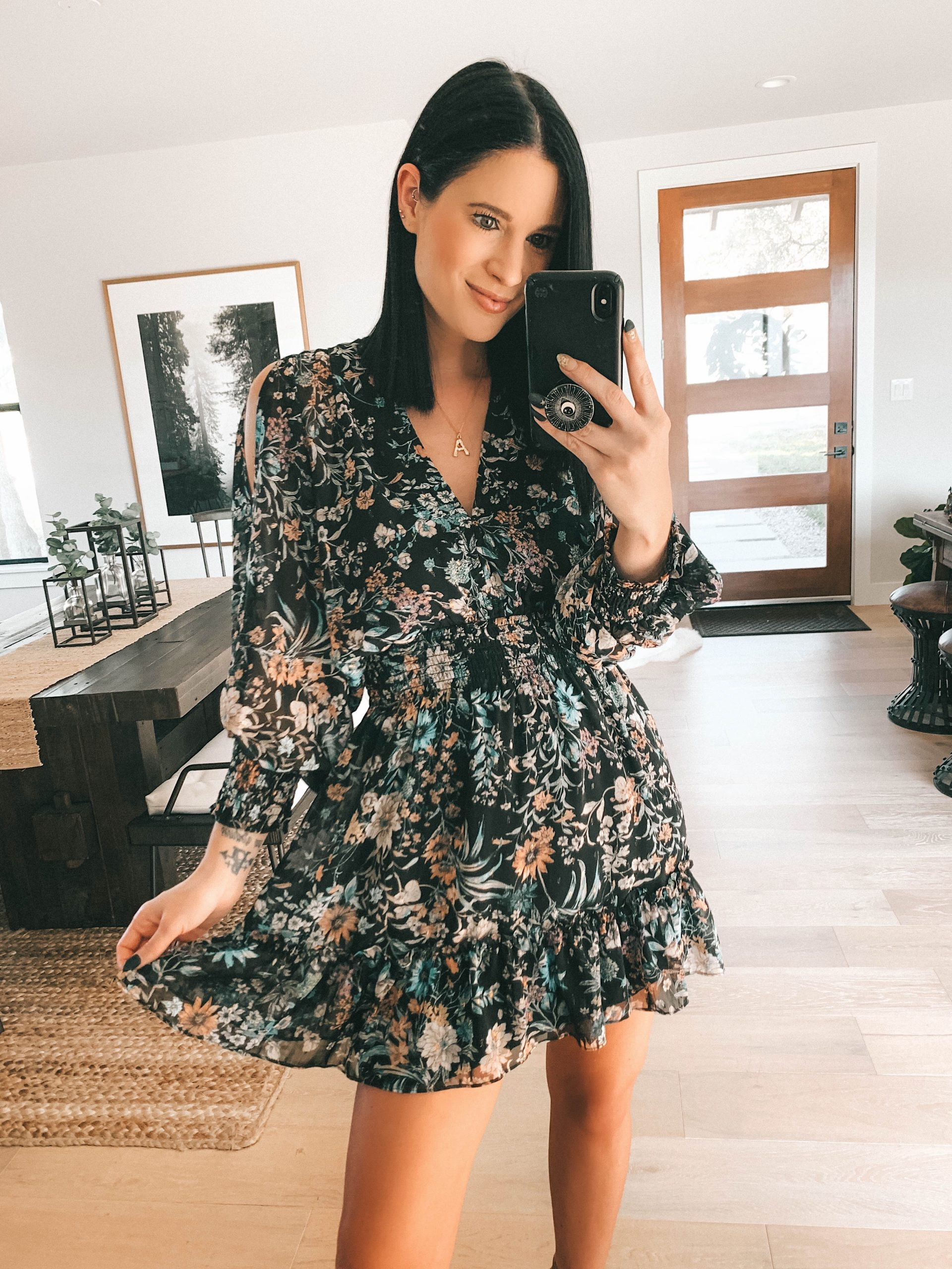 Lovestitch Spring Try On by popular Austin fashion blog, Dressed to Kill: image of a woman wearing a Lovestitch GLENNA SPLIT SLEEVE MINI DRESS.