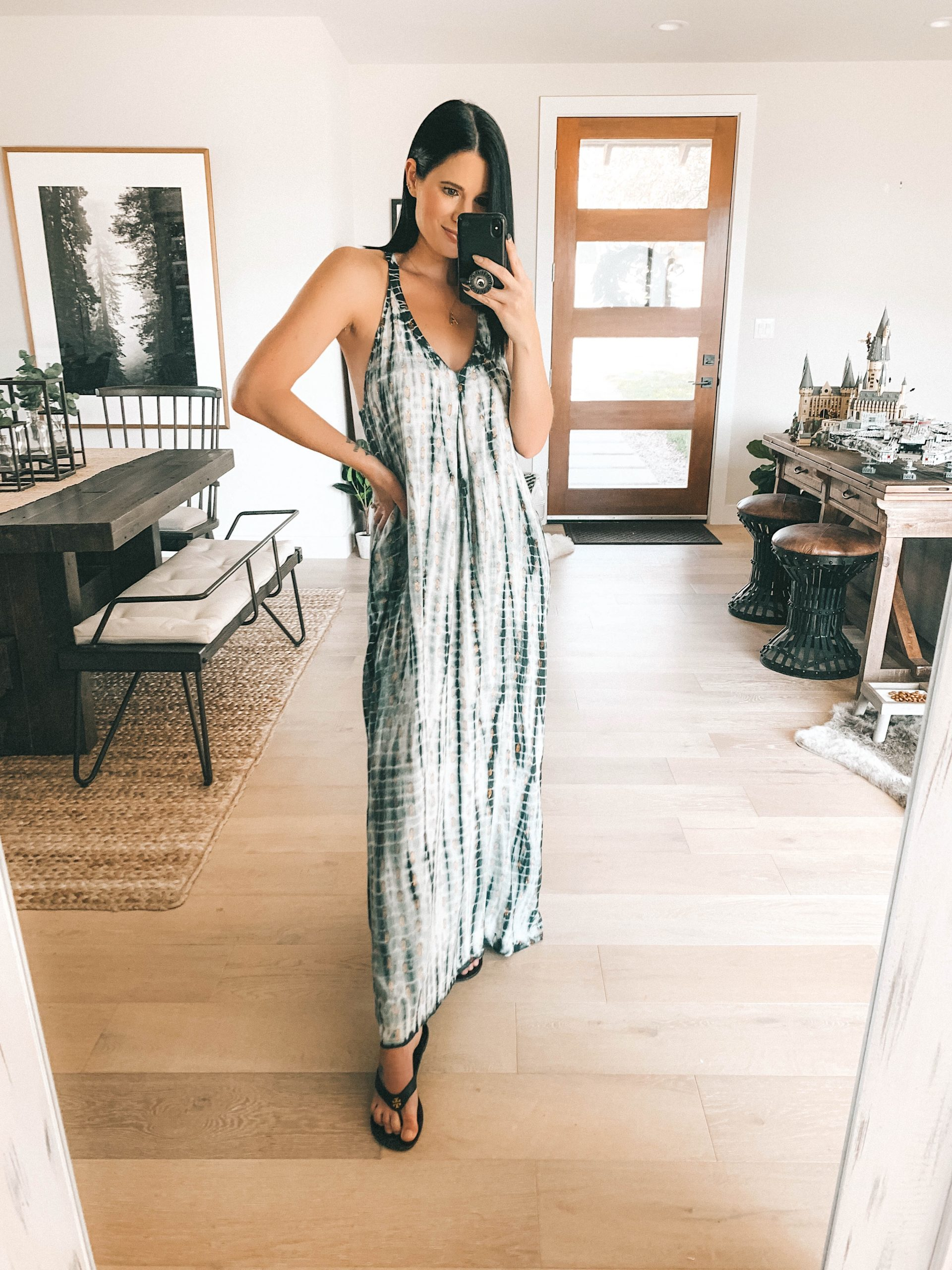 Lovestitch Spring Try On by popular Austin fashion blog, Dressed to Kill: image of a woman wearing a Lovestitch SANNI TIE DYE METALLIC MAXI DRESS.