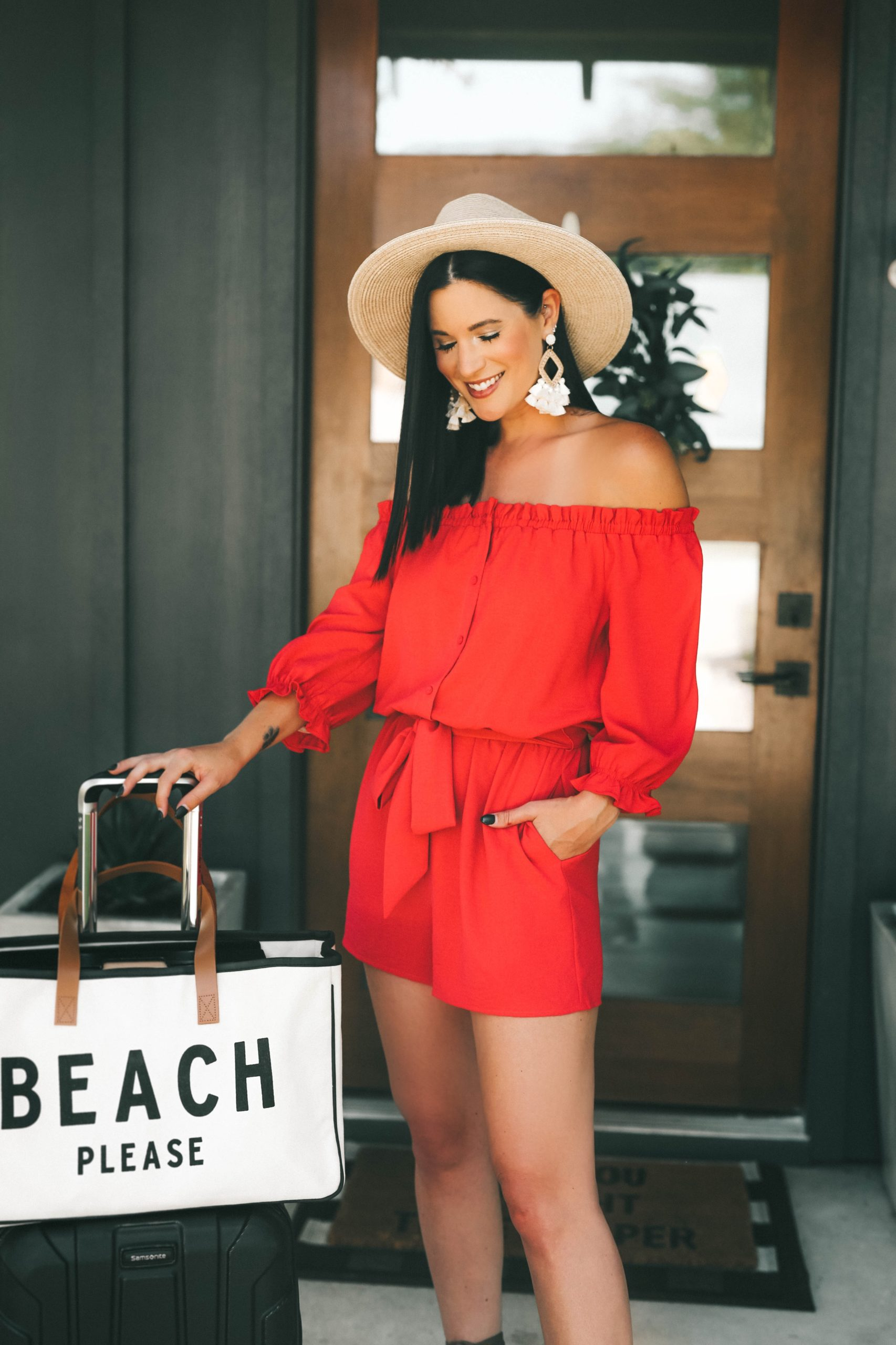 Gibson Look Road Trip by popular Austin fashion blog, Dressed to Kill: image of a woman wearing a Gibson Look Road Trip off the shoulder silky crepe romper.