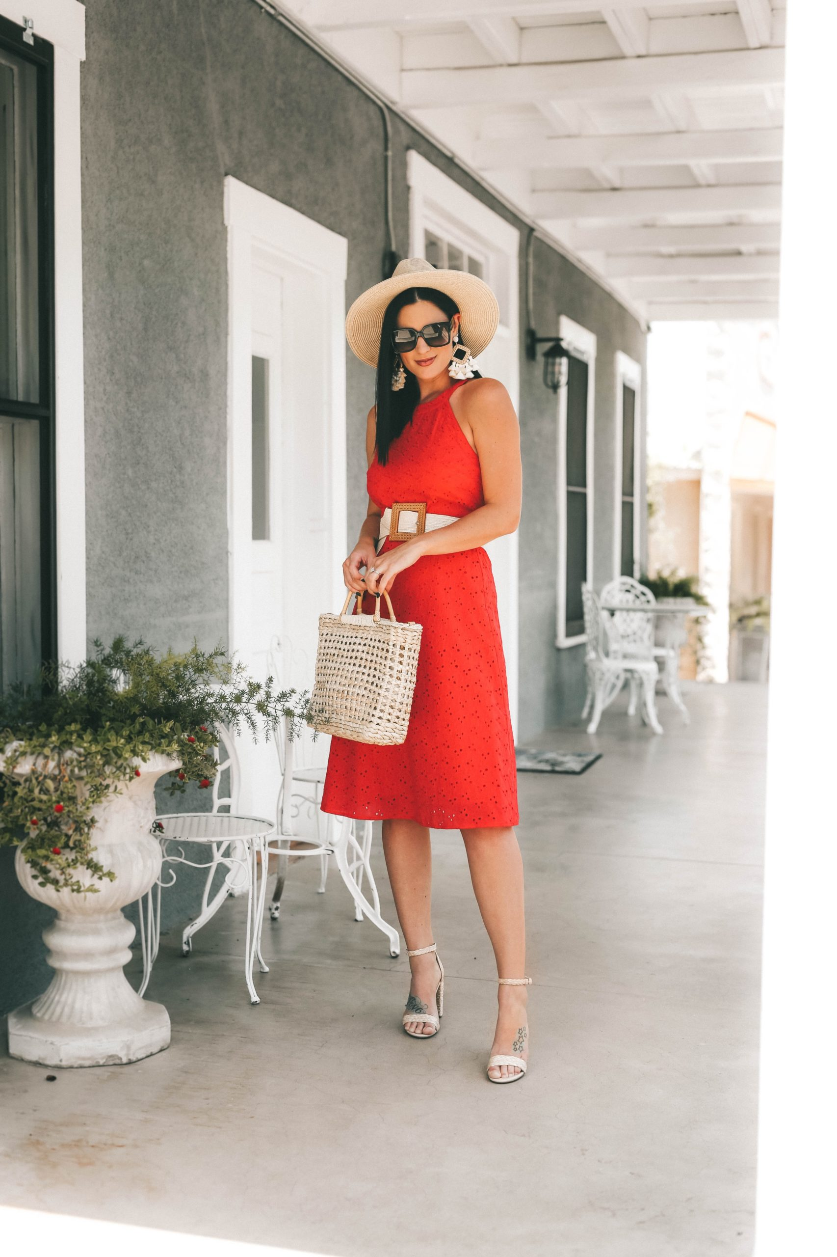 Gibson Look Road Trip by popular Austin fashion blog, Dressed to Kill: image of a woman wearing a DTK Austin Gibson Look Road Trip belted fit and flare swing dress.