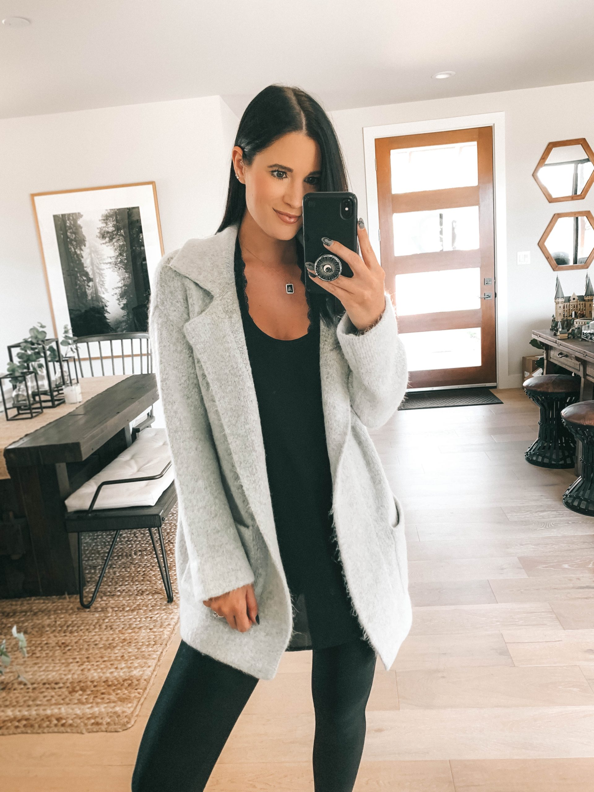 Nordstrom Anniversary Sale by popular Austin fashion blog, Dressed to Kill: image of a woman wearing Nordstrom Faux Leather Leggings SPANX, Nordstrom Layering Tee CHELSEA28, and Nordstrom Cardigan Coat THREAD & SUPPLY.
