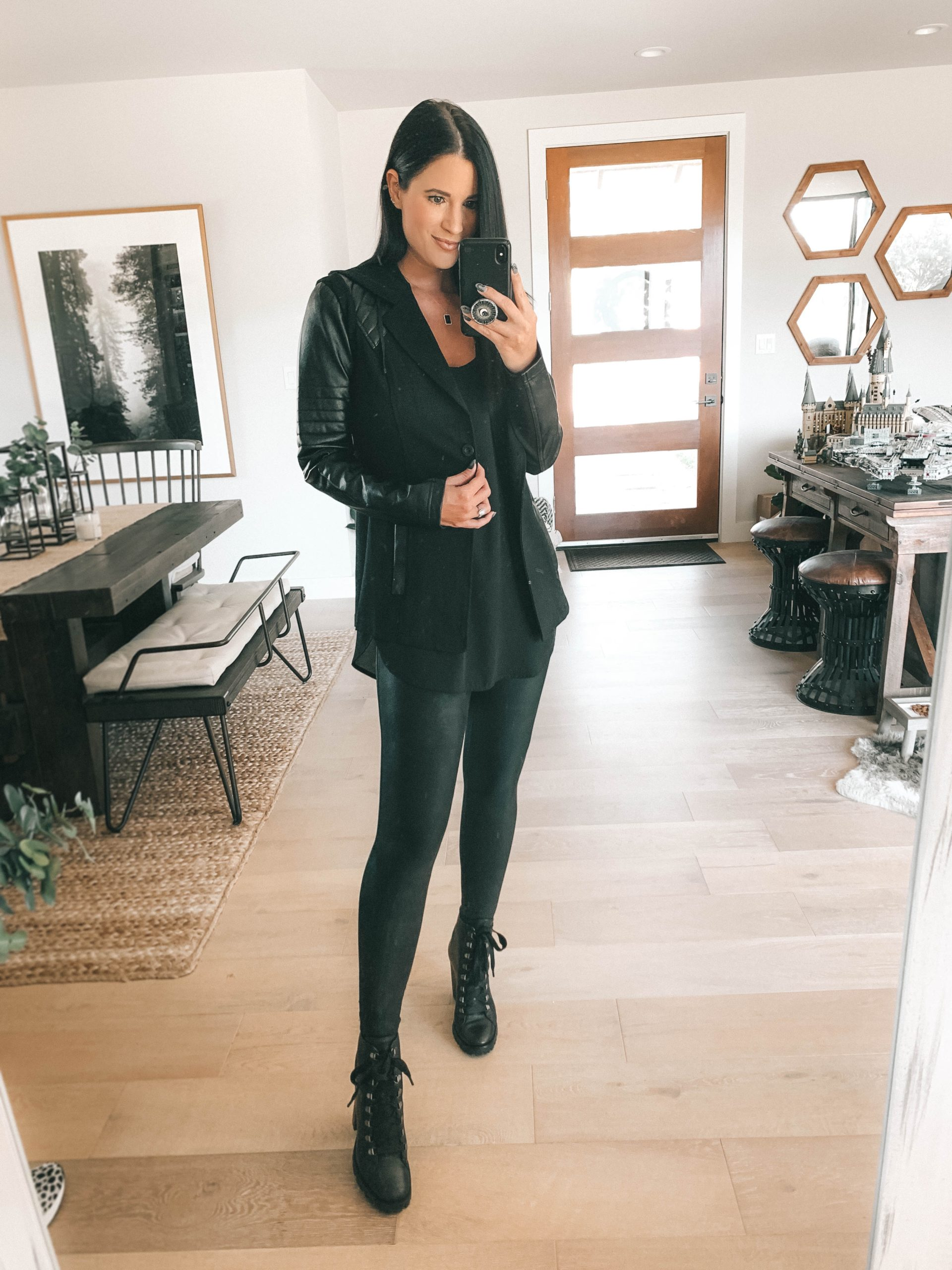 Nordstrom Anniversary Sale by popular Austin fashion blog, Dressed to Kill: image of a woman wearing a pair of Nordstrom Gimmick Lace-Up Boot CHARLES DAVID, Nordstrom Faux Leather Leggings SPANX, and Nordstrom Hooded Moto Blazer with Faux Leather Sleeves BLANC NOIR.
