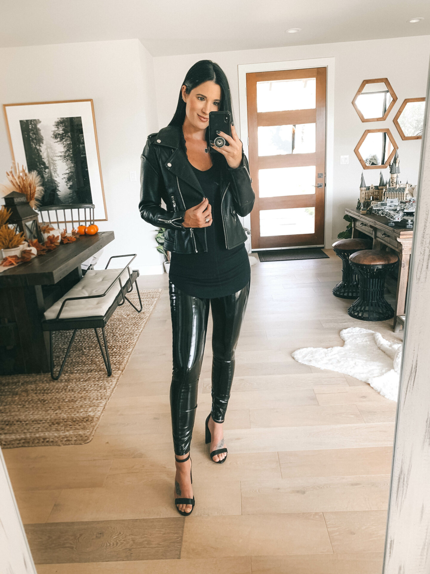 Different ways to wear patent leather leggings - Dressed