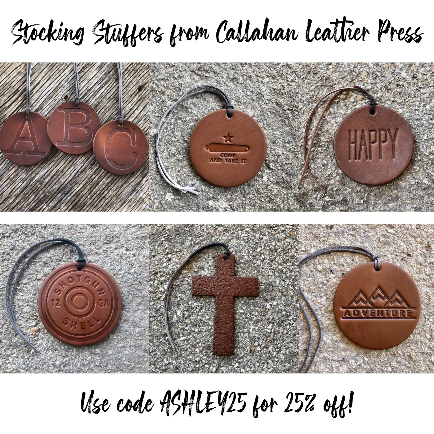 Holiday Gift Ideas by popular Austin life and style blog, Dressed to Kill: image of stamped leather tags.