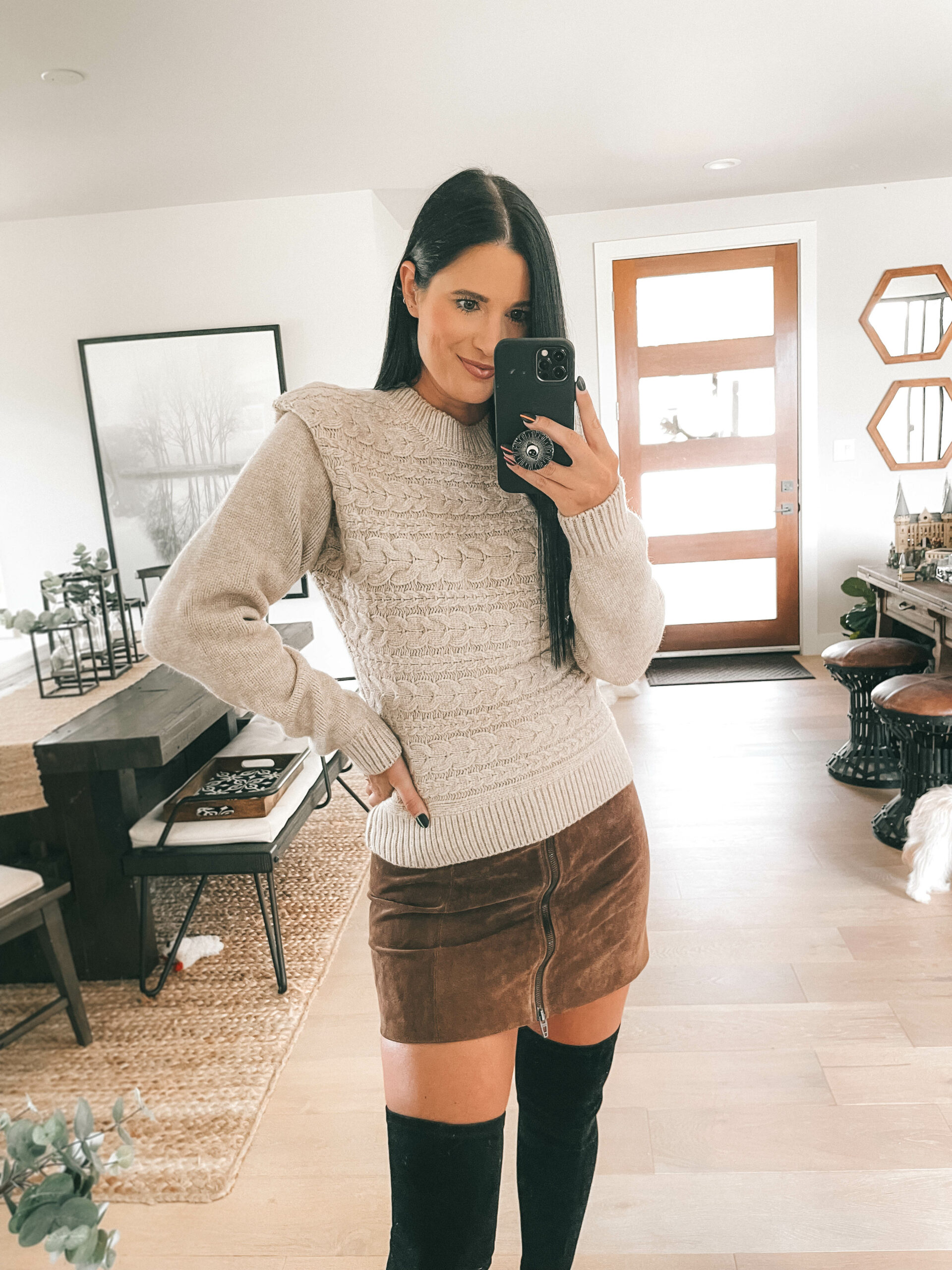 Nordstrom Anniversary Sale by popular Austin fashion blog, Dressed to Kill: image of a woman wearing a tan sweater, brown suede skirt, and black over the knee boots.